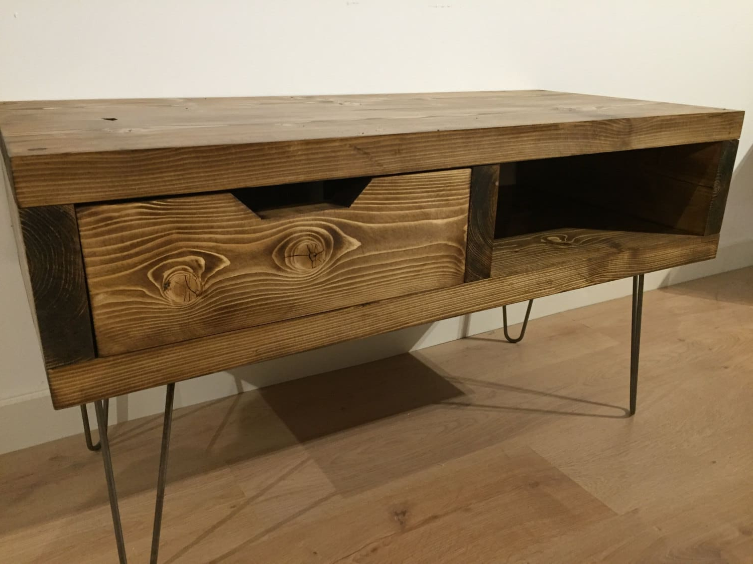 Hairpin Leg Tv Stands Within Famous Solid Pine Box Tv Stand With Drawer And Hairpin Legs – Newco (View 13 of 20)