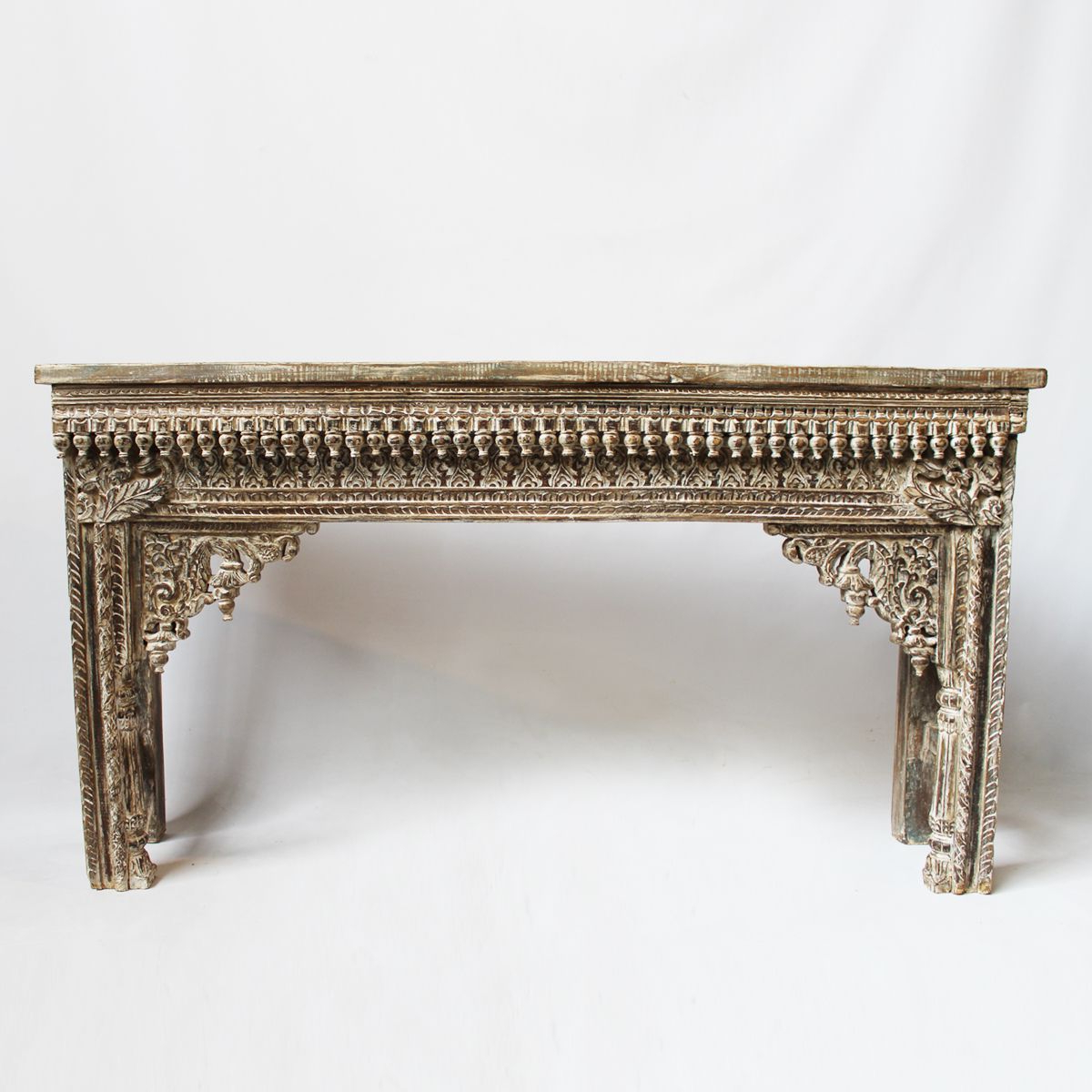 Hand Carved White Wash Console Tables In Most Recently Released Hand Carved Teak Console Table Made From An Original Rajasthan Door (View 2 of 20)