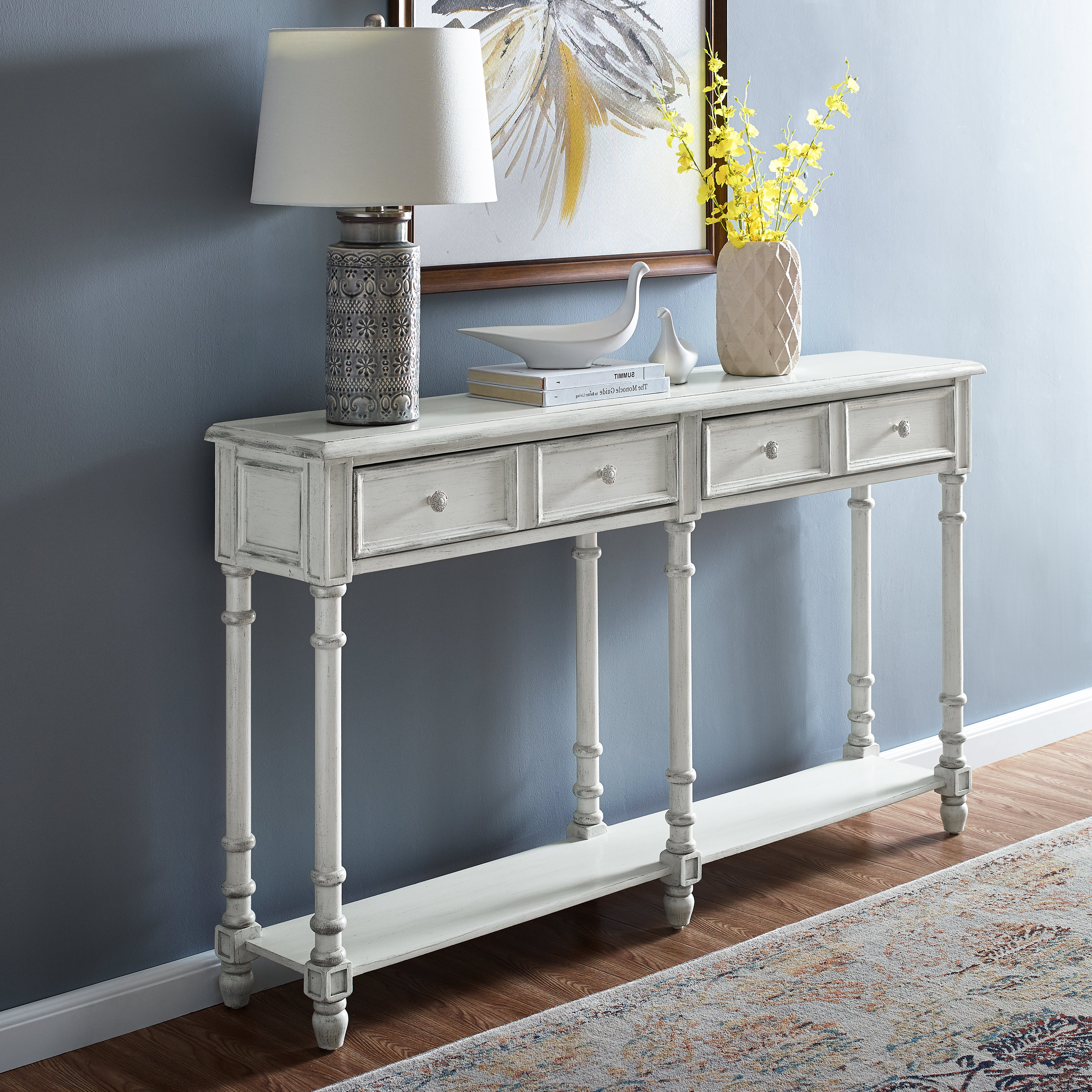 Hand Carved White Wash Console Tables Intended For Newest White Washed Console Table (Gallery 3 of 20)