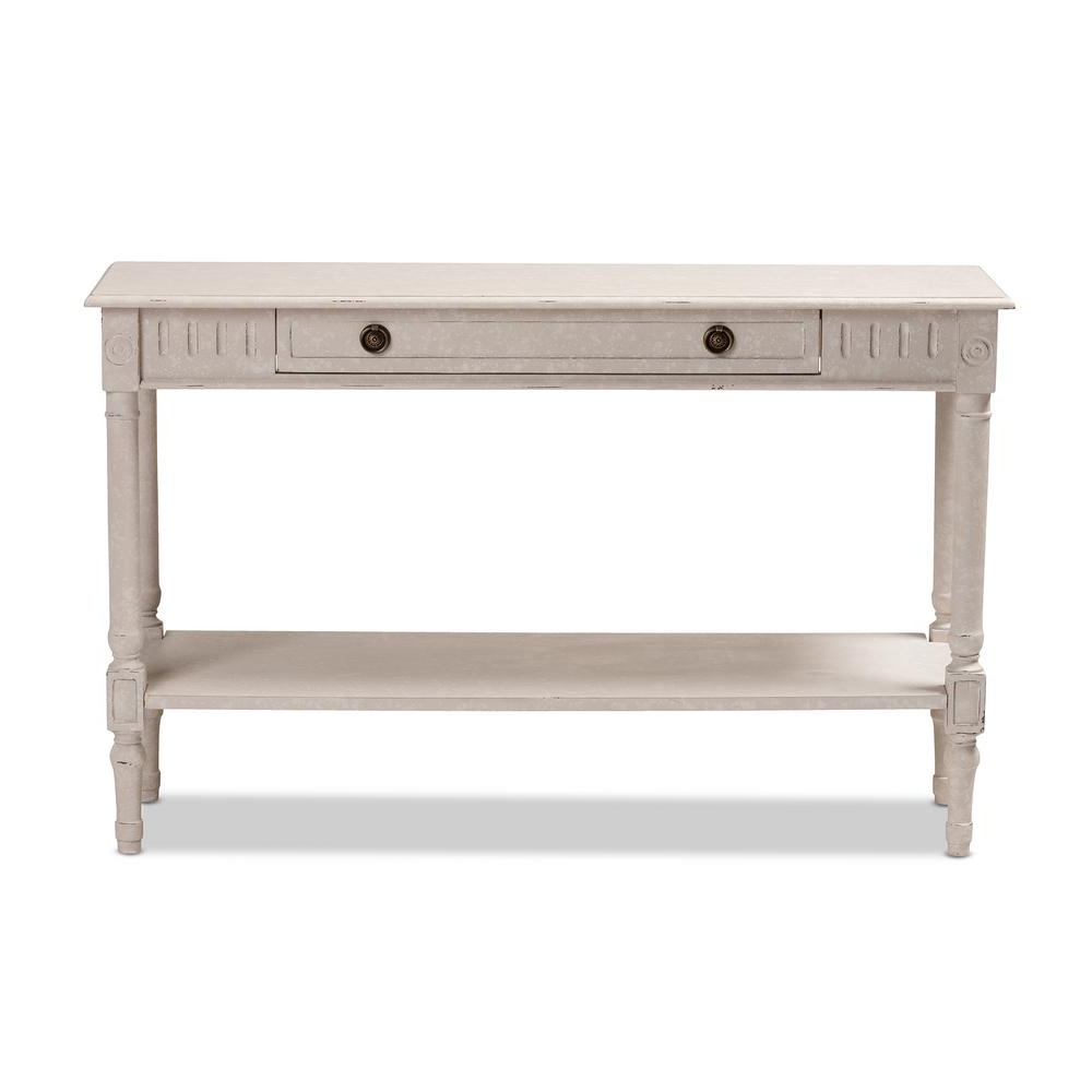 Hand Carved White Wash Console Tables With Recent Baxton Studio Ariella Whitewashed Console Table 147 8190 Hd – The (View 8 of 20)