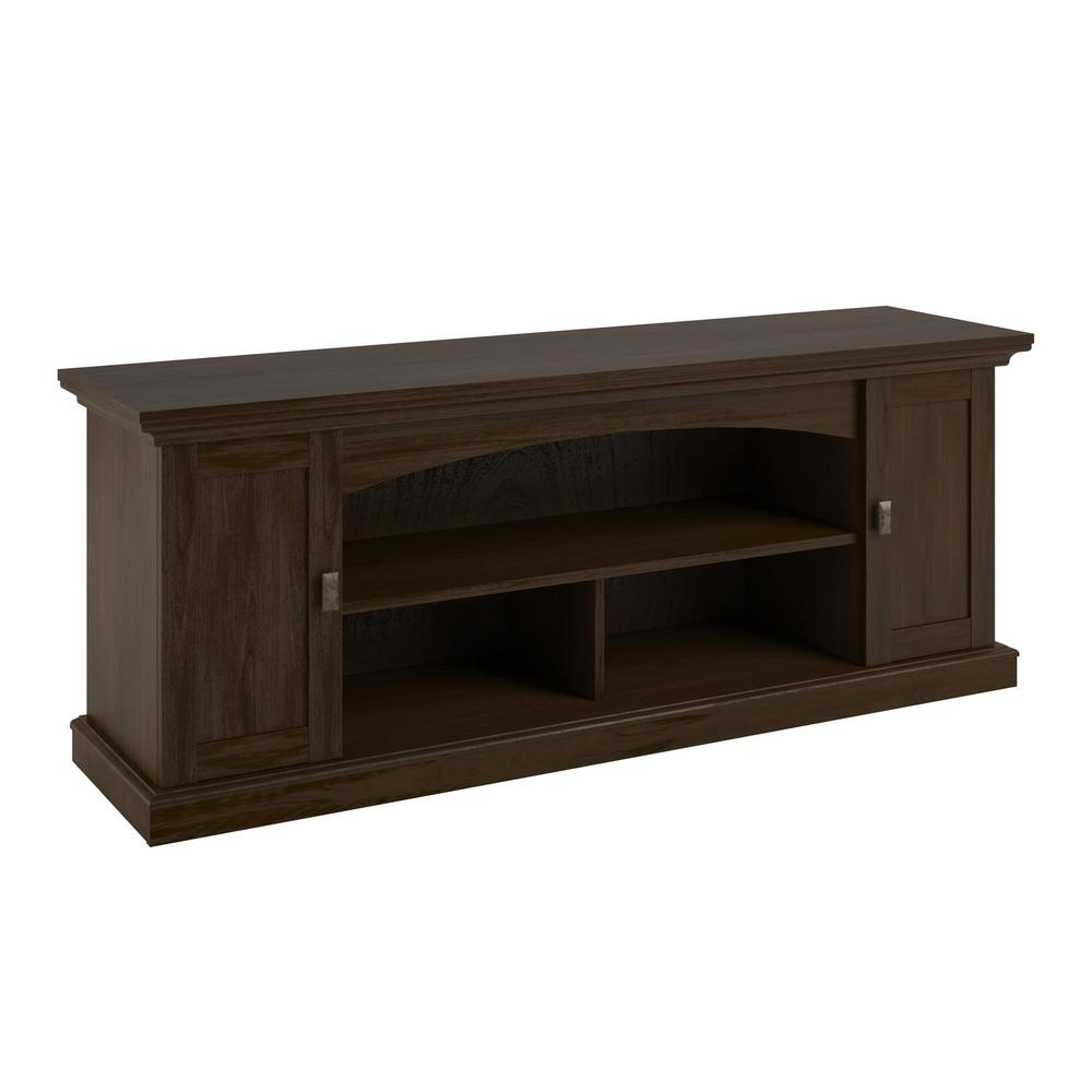 Hardwood Tv Stands Inside Most Recently Released Maywood Brown Oak 60 In. Tv Stand Hd12407 – The Home Depot (Gallery 11 of 20)