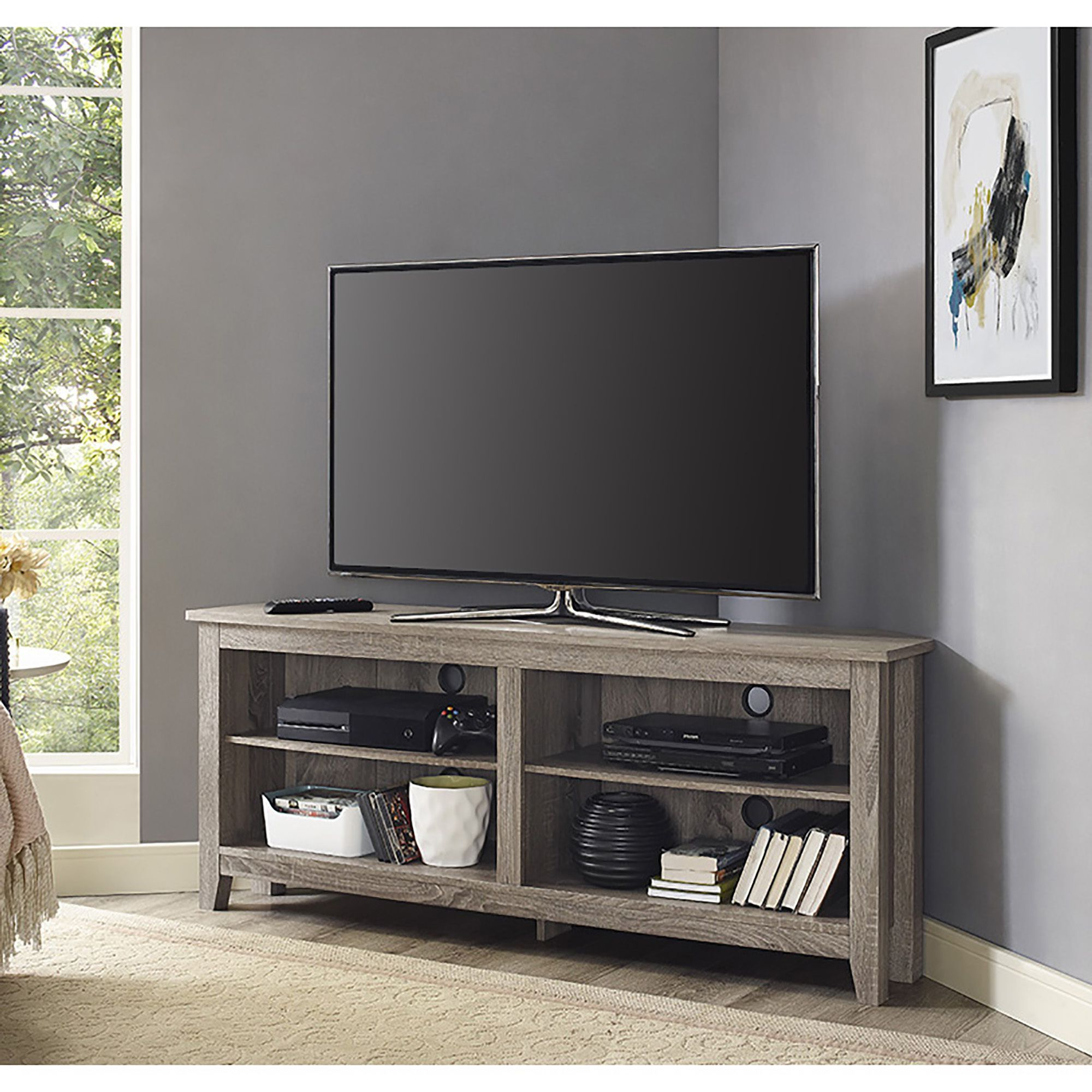 Havenside Home Jacksonville 58 Inch Driftwood (Brown) Corner Tv In Trendy Murphy 72 Inch Tv Stands (View 3 of 20)