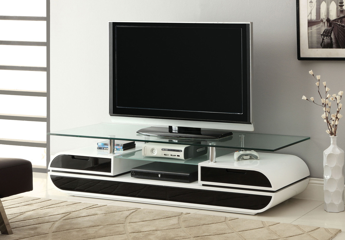 High Gloss Finish Black & White Tv Stand • Caravana Furniture In Recent High Gloss Tv Benches (View 16 of 20)