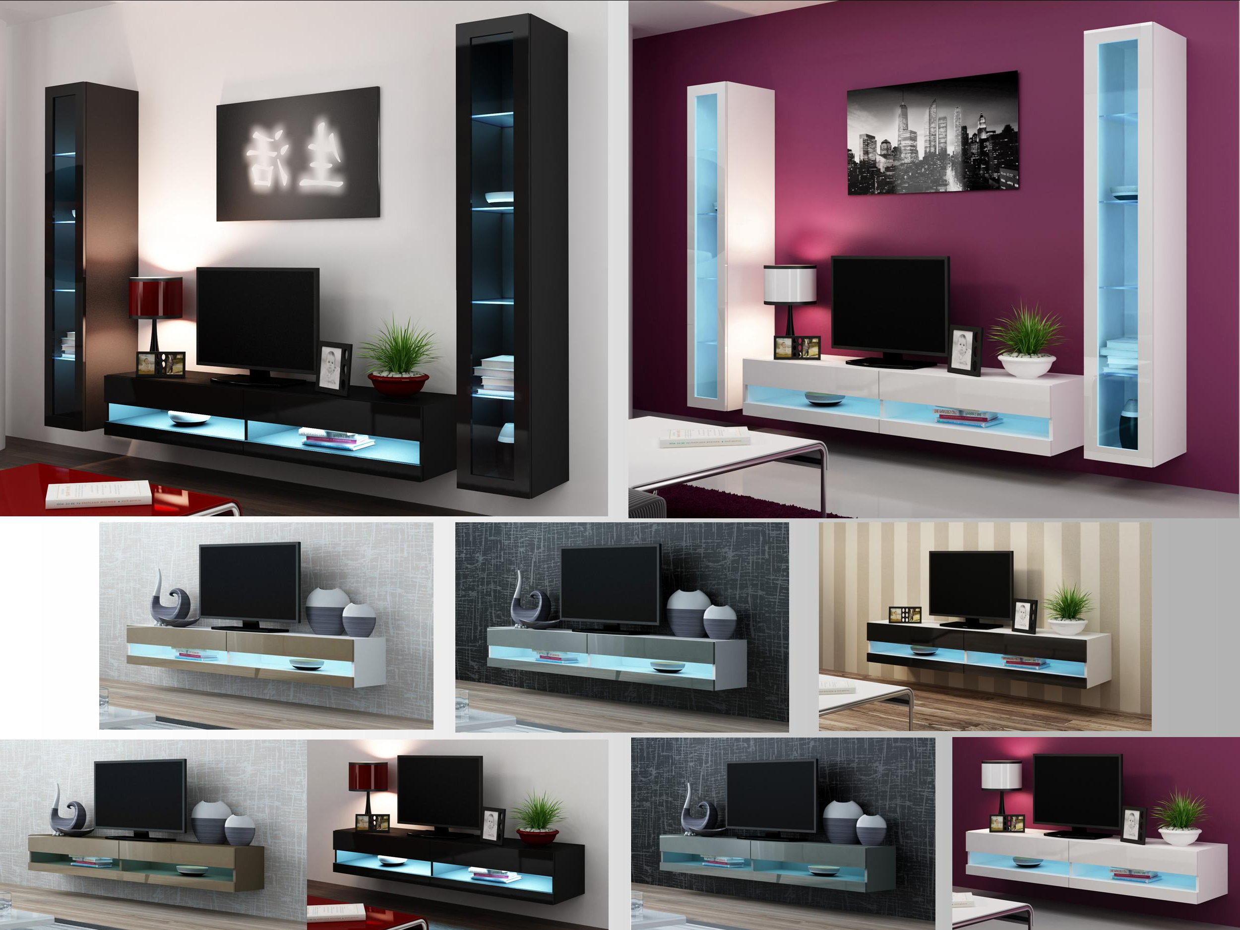 High Gloss Living Room Furniture – Tv Stand, Wall Mounted Cabinet Inside 2018 Black Gloss Tv Wall Unit (View 7 of 20)