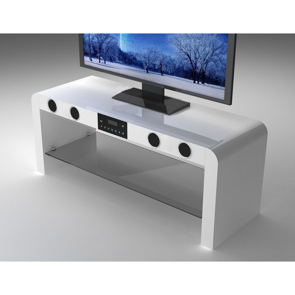 High Gloss Tv Benches Intended For Latest Modern White High Gloss Tv Stand With Speakers – Home Done (View 11 of 20)