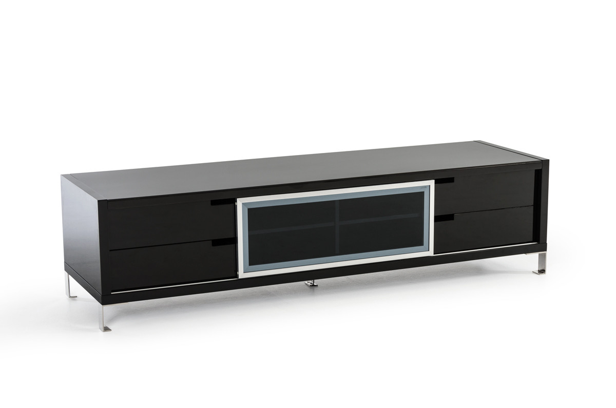 High Gloss Tv Cabinets In Most Popular Modrest Edward Modern Black High Gloss Tv Stand (View 18 of 20)
