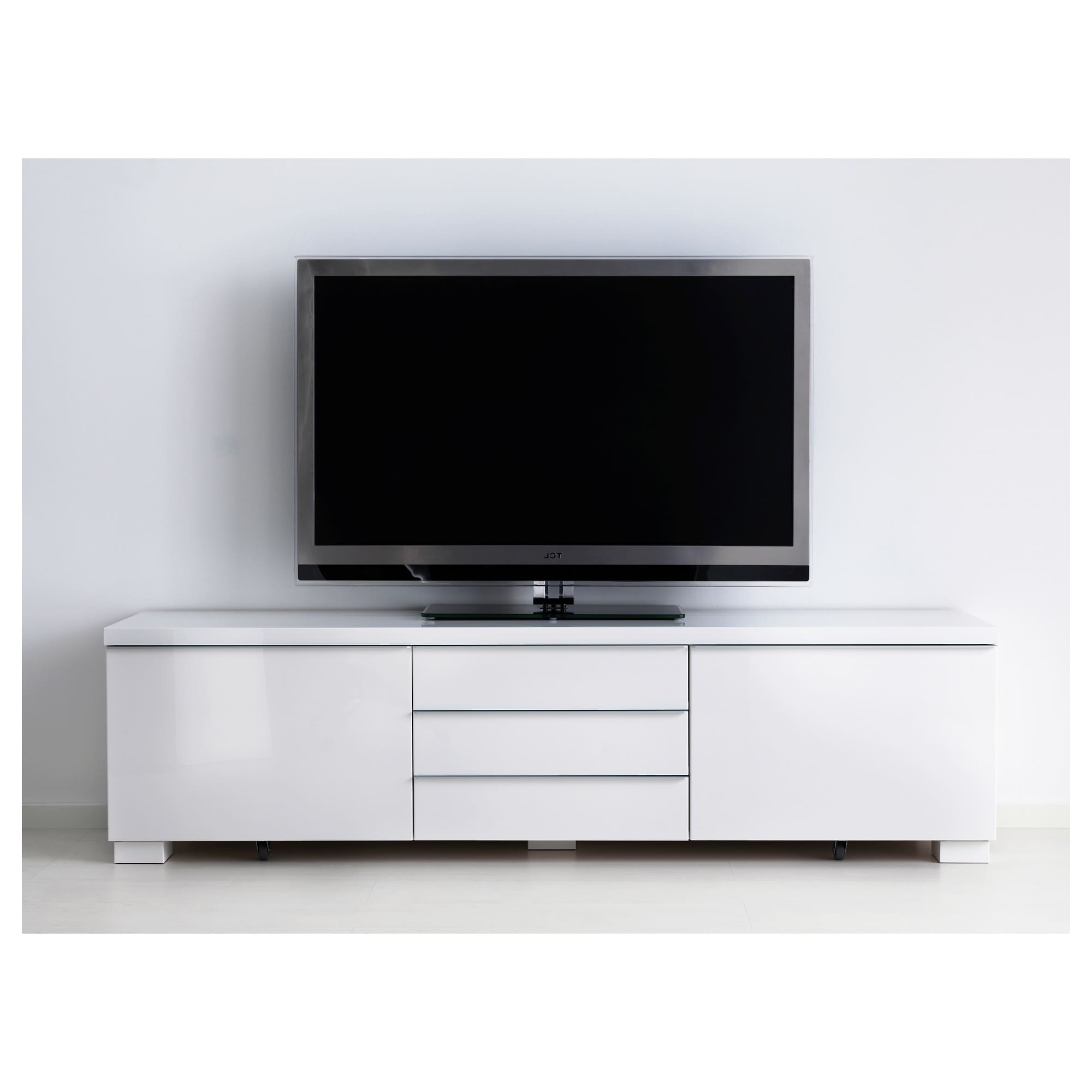 High Gloss Tv Cabinets Within 2017 Bestå Burs Tv Bench High Gloss White 180 X 41 X 49 Cm – Ikea (View 4 of 20)