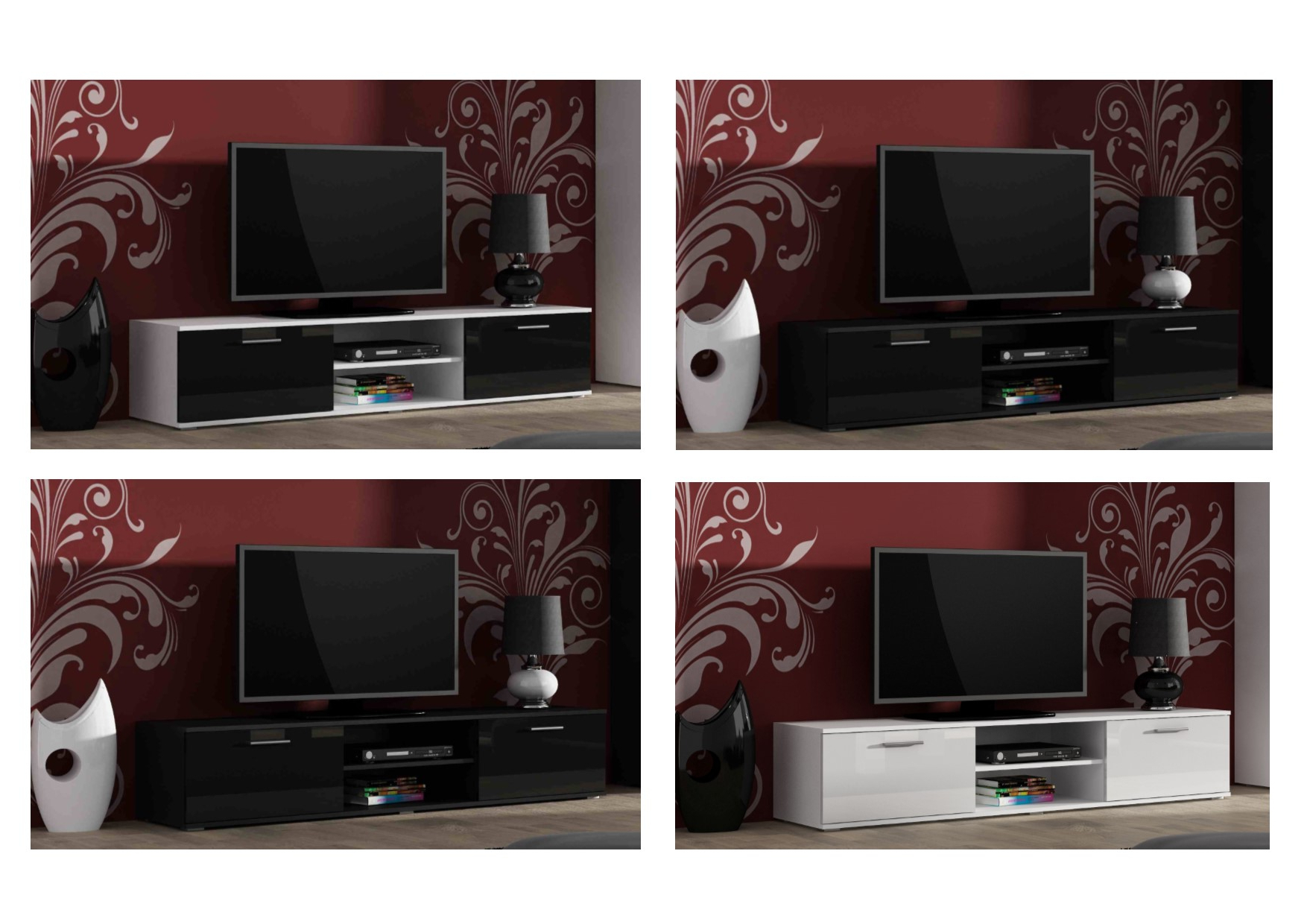 High Gloss Tv Stand Cabinet Entertainment Unit With 2 Doors (Gallery 6 of 20)