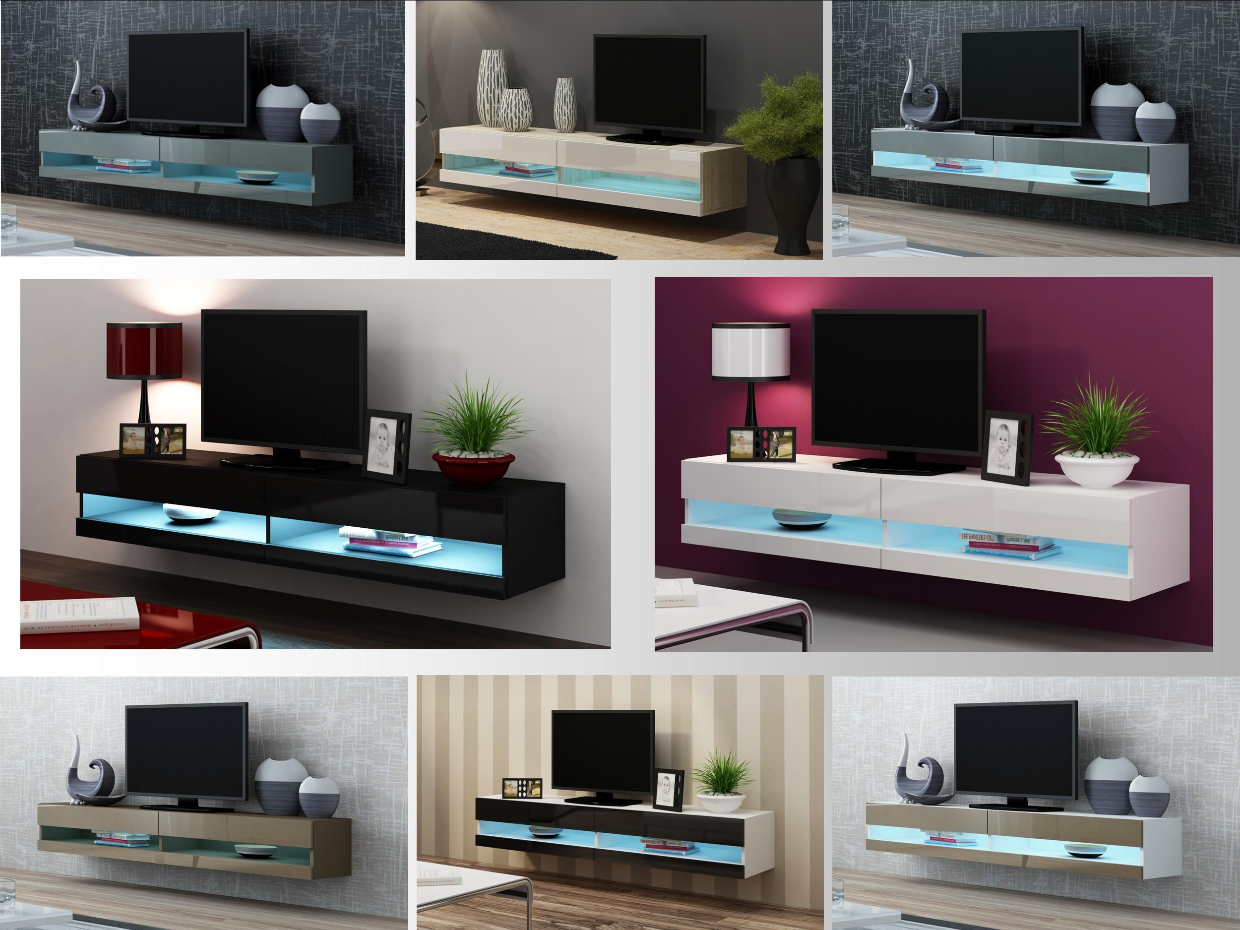 High Gloss Tv Stand Cabinet With Led Lights (Gallery 3 of 20)