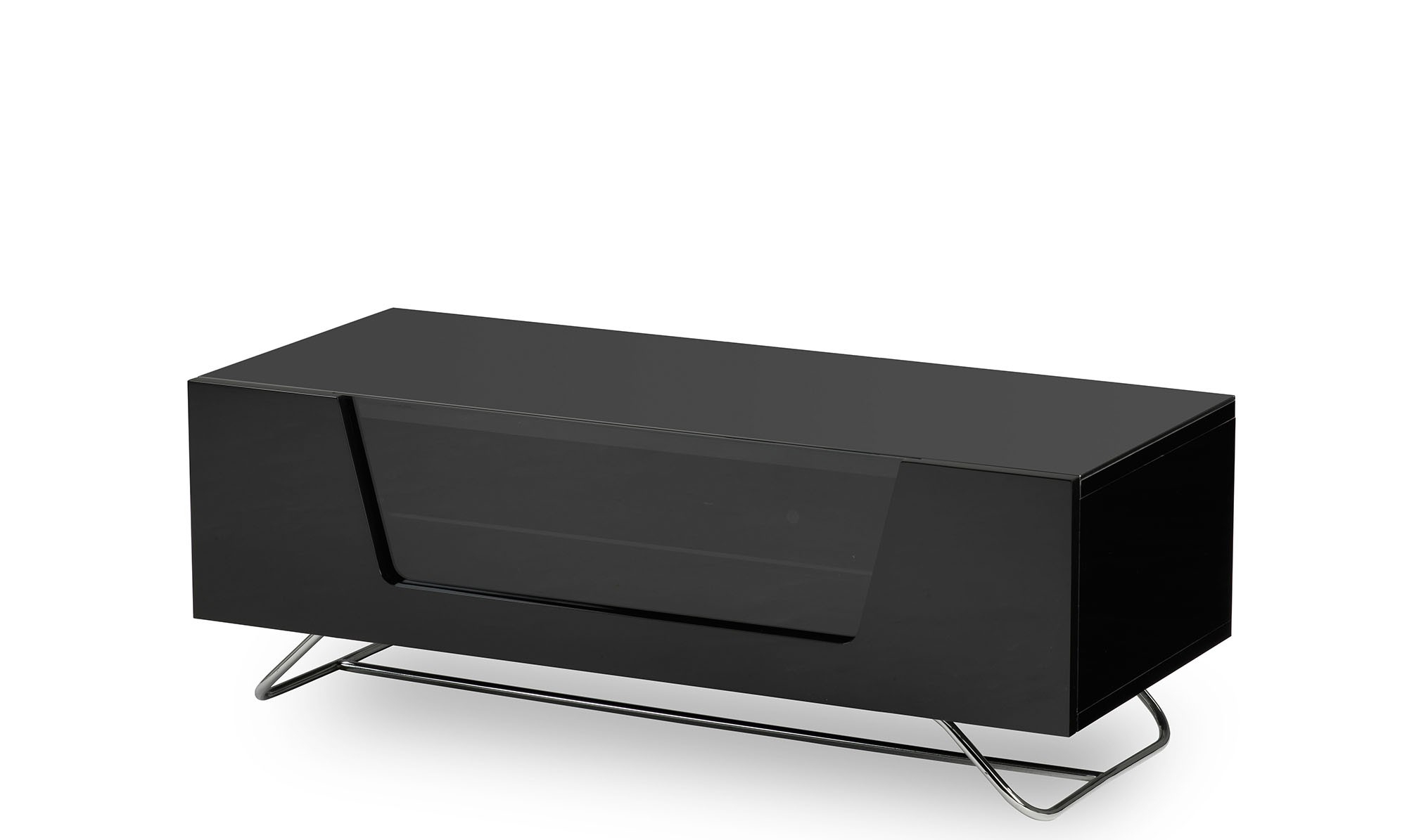 High Gloss Tv Unit With Led Lights Glass And Steel Stand Wood Metal With Regard To Fashionable Black Gloss Tv Units (View 9 of 20)
