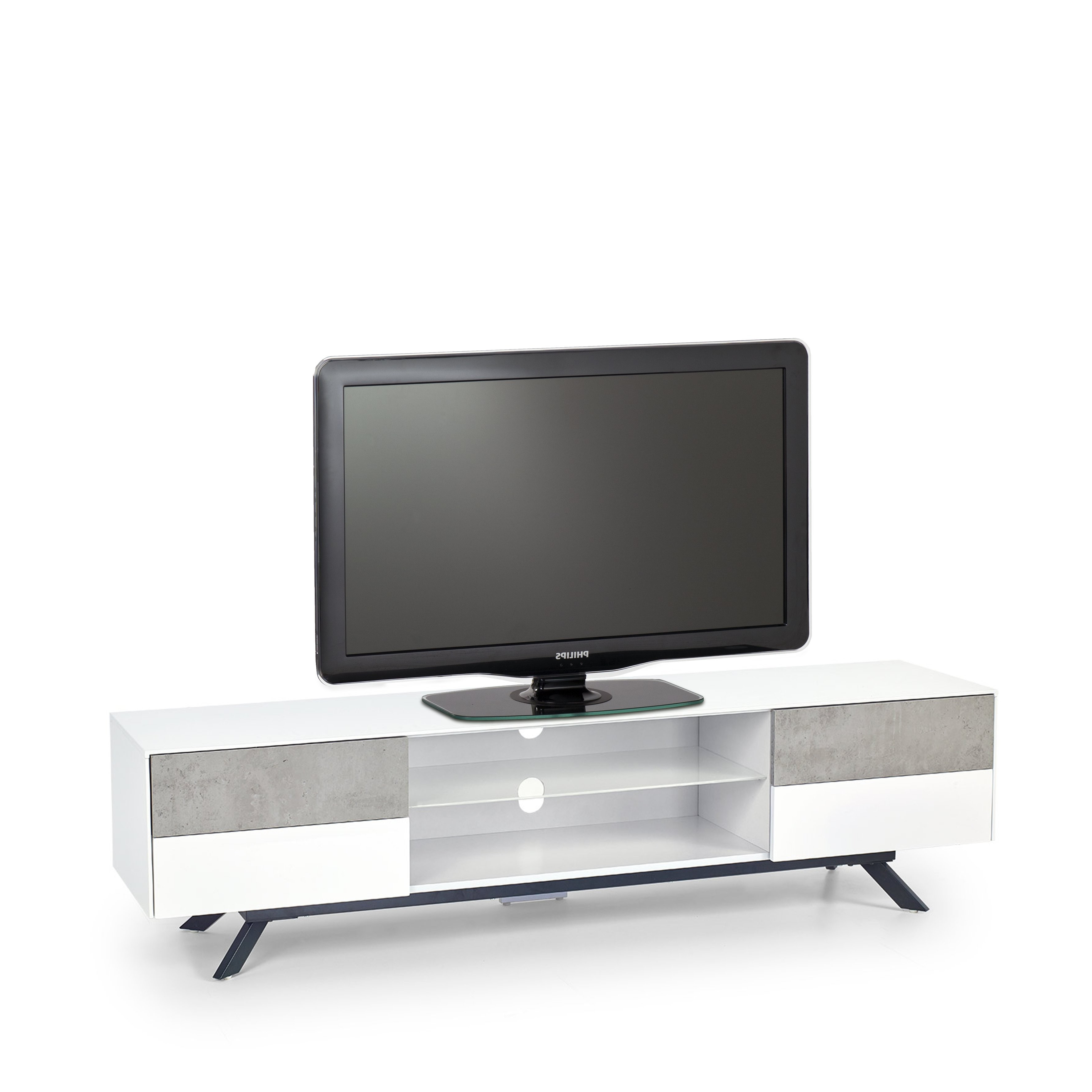 High Gloss White Tv Stands In Popular New Era High Gloss White With Concrete Effect Tv Stand 180Cm (View 2 of 20)