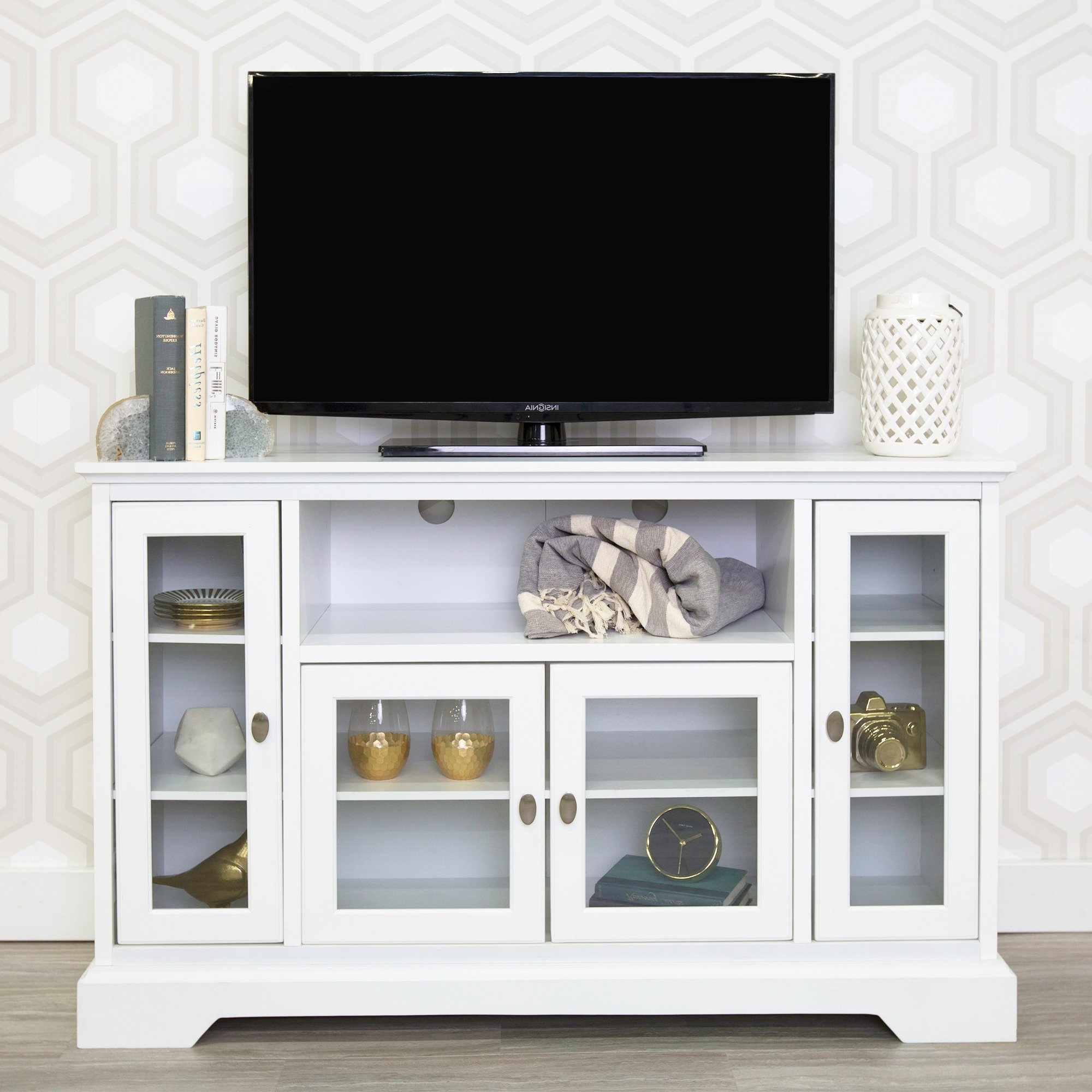 "Highboy Tv Stands For Most Popular Shop 52"" Highboy Tv Stand Console – White – 52 X 16 X 33H – Free (Gallery 18 of 20)"