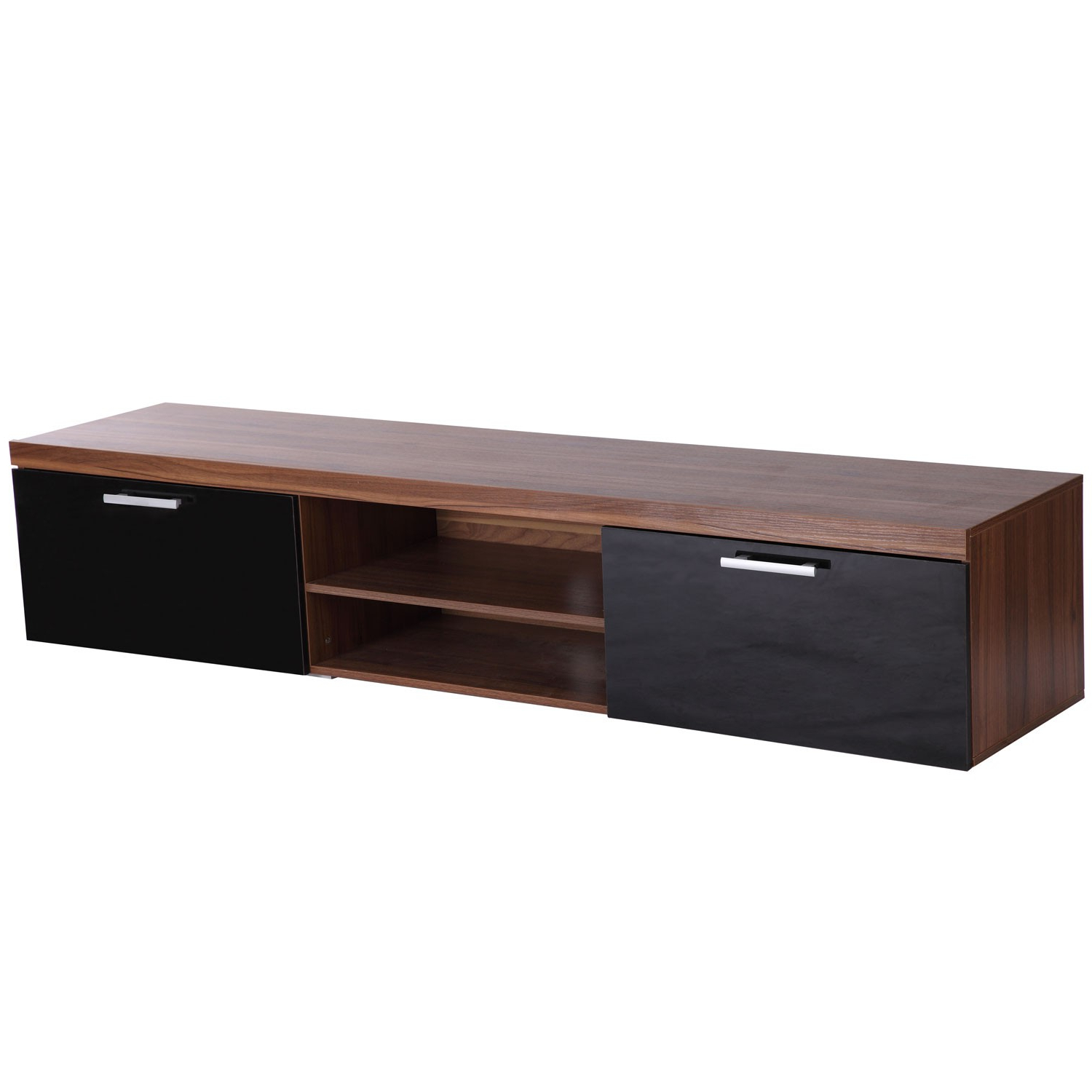 Homcom Tv Cabinet Unit, 2 High Gloss Doors Black/walnut Within Well Liked Walnut Tv Cabinets With Doors (Gallery 2 of 20)