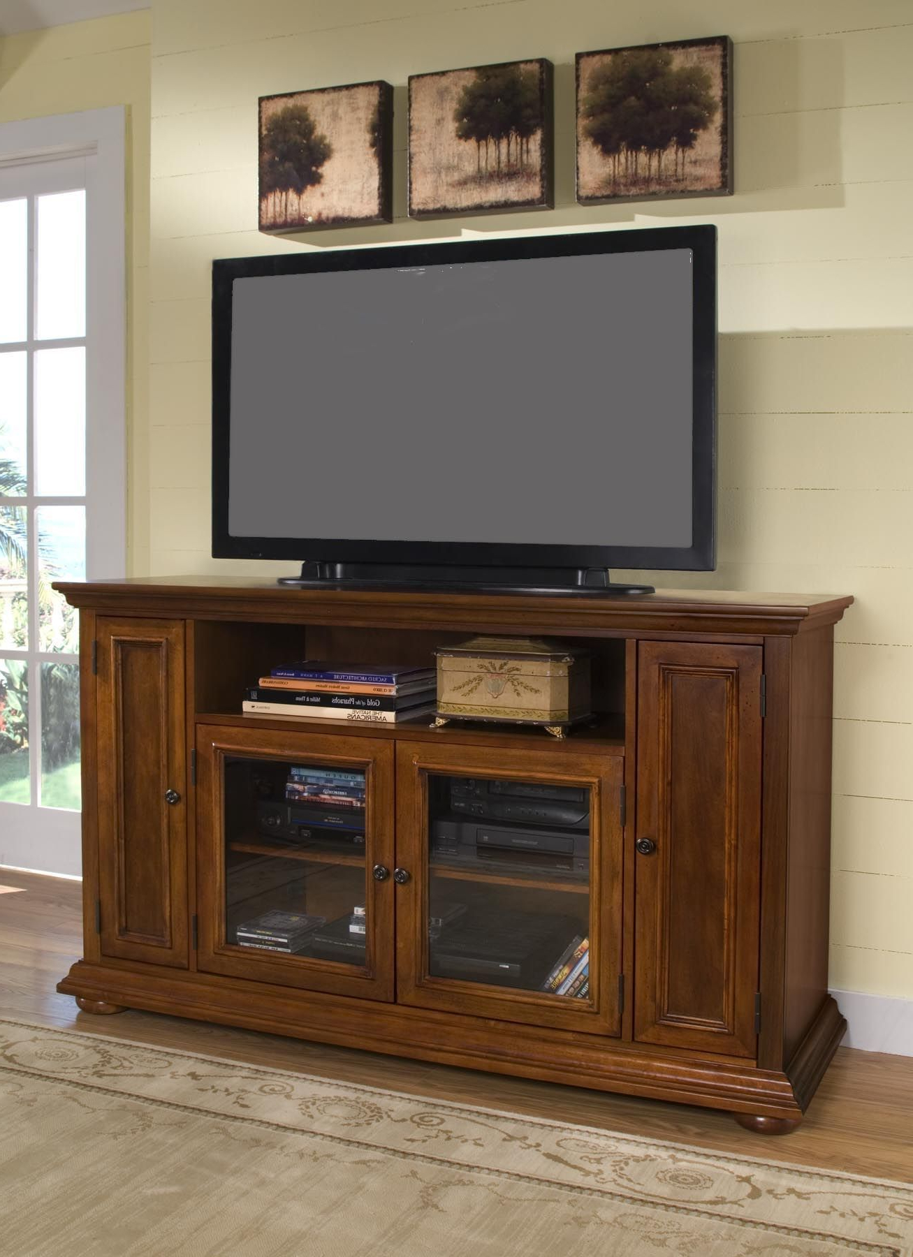 Home Styles Homestead Tv Entertainment Credenza Stand For 60 Intended For 2018 Tall Tv Stands For Flat Screen (View 2 of 20)