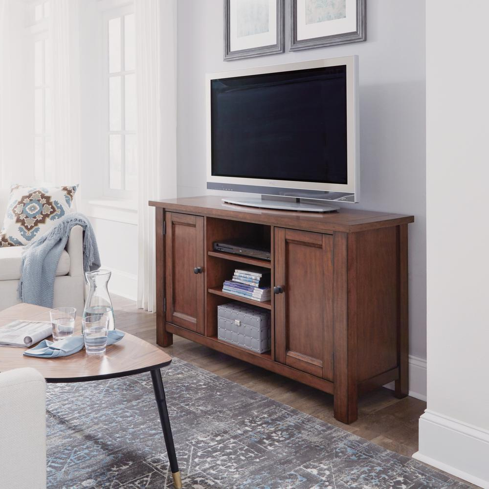 Home Styles Tahoe Tv Entertainment Stand Credenza In Aged Maple 5412 For Best And Newest Wood Tv Floor Stands (View 4 of 20)