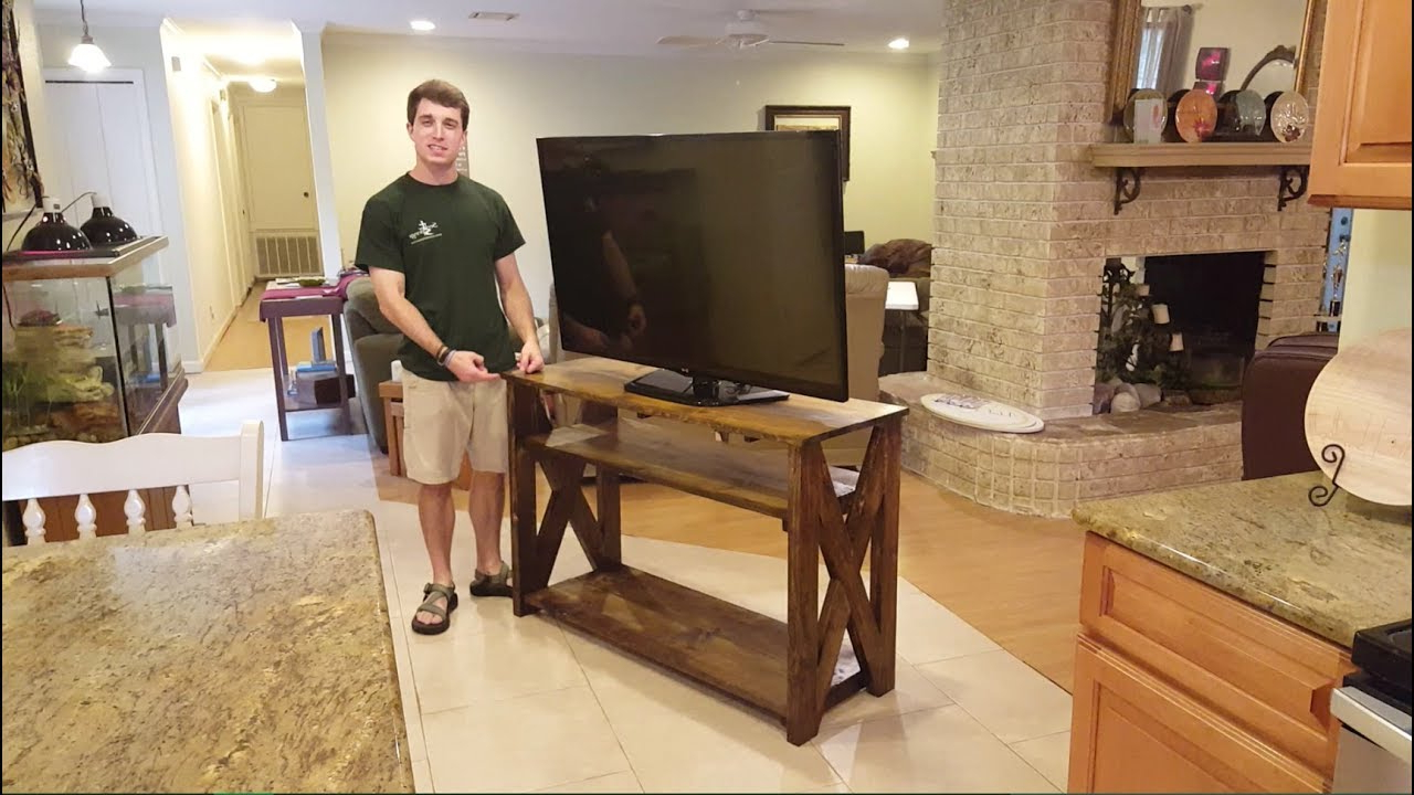 How To: Rustic Tv Stand – Youtube Regarding Best And Newest Rustic Tv Cabinets (Gallery 18 of 20)