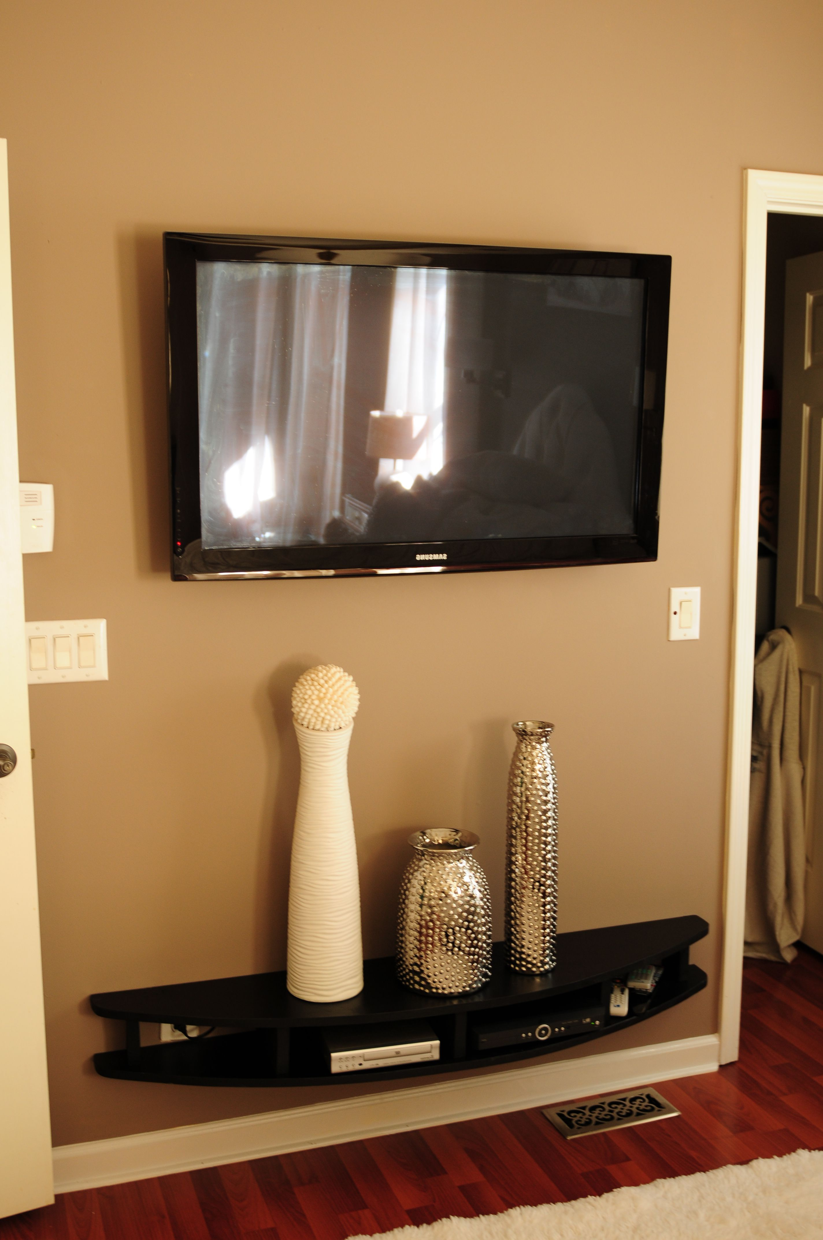 Hubby Built Modern Shelves To Wall Mount Under Tv (View 3 of 20)