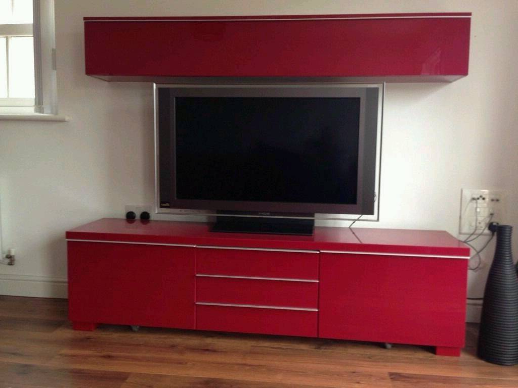 Ikea Besta Burs High Gloss Red Tv Stand Cupboard (Gallery 5 of 20)