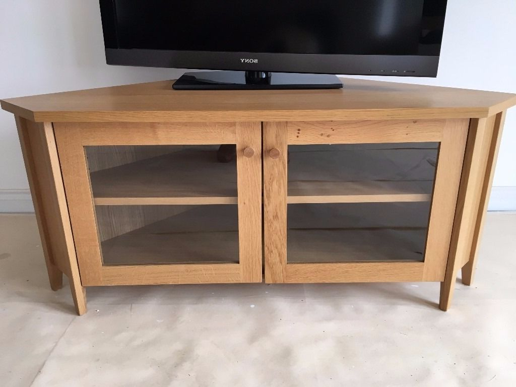 Ikea Skoghall Oak Corner Tv/media Unit/stand Glass Doors, Adjustable With Famous Corner Tv Unit With Glass Doors (Gallery 2 of 20)