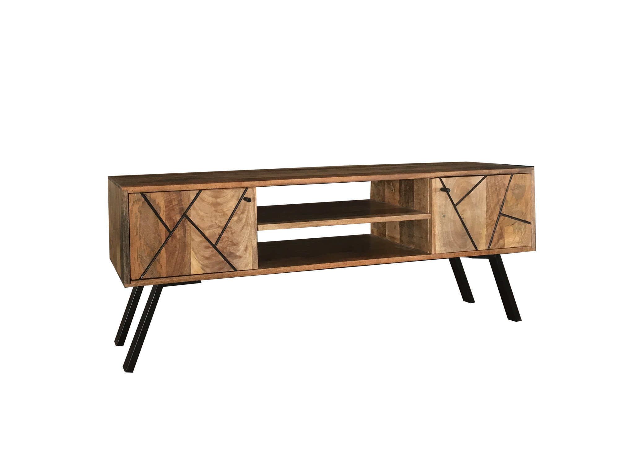Industrial Metal Tv Stands With Newest Pyramid Range 2 Door Tv Stand With Angled Paneling And Metal Legs (View 6 of 20)