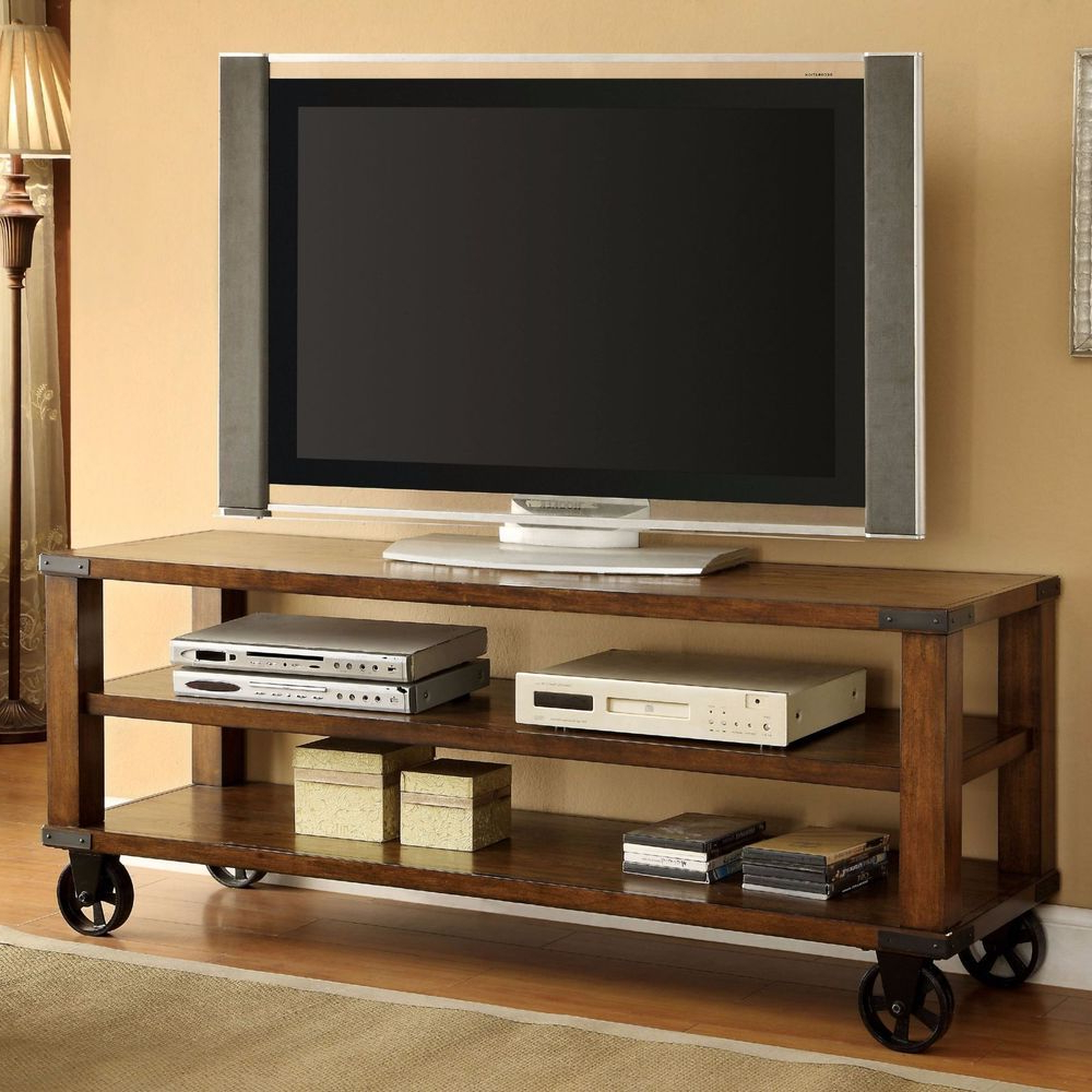 "Industrial Rustic Wood 60"" Tv Stand Media Console Wheels Wood With Regard To Latest Rustic 60 Inch Tv Stands (View 8 of 20)"