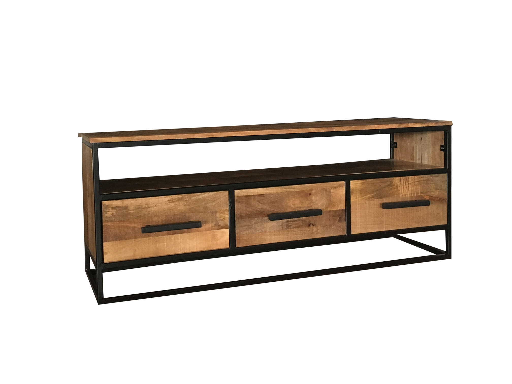 Industrial Style 140 Cm Light Mango Wood 3 Drawer Tv Stand Media Regarding Most Recently Released Industrial Metal Tv Stands (View 11 of 20)