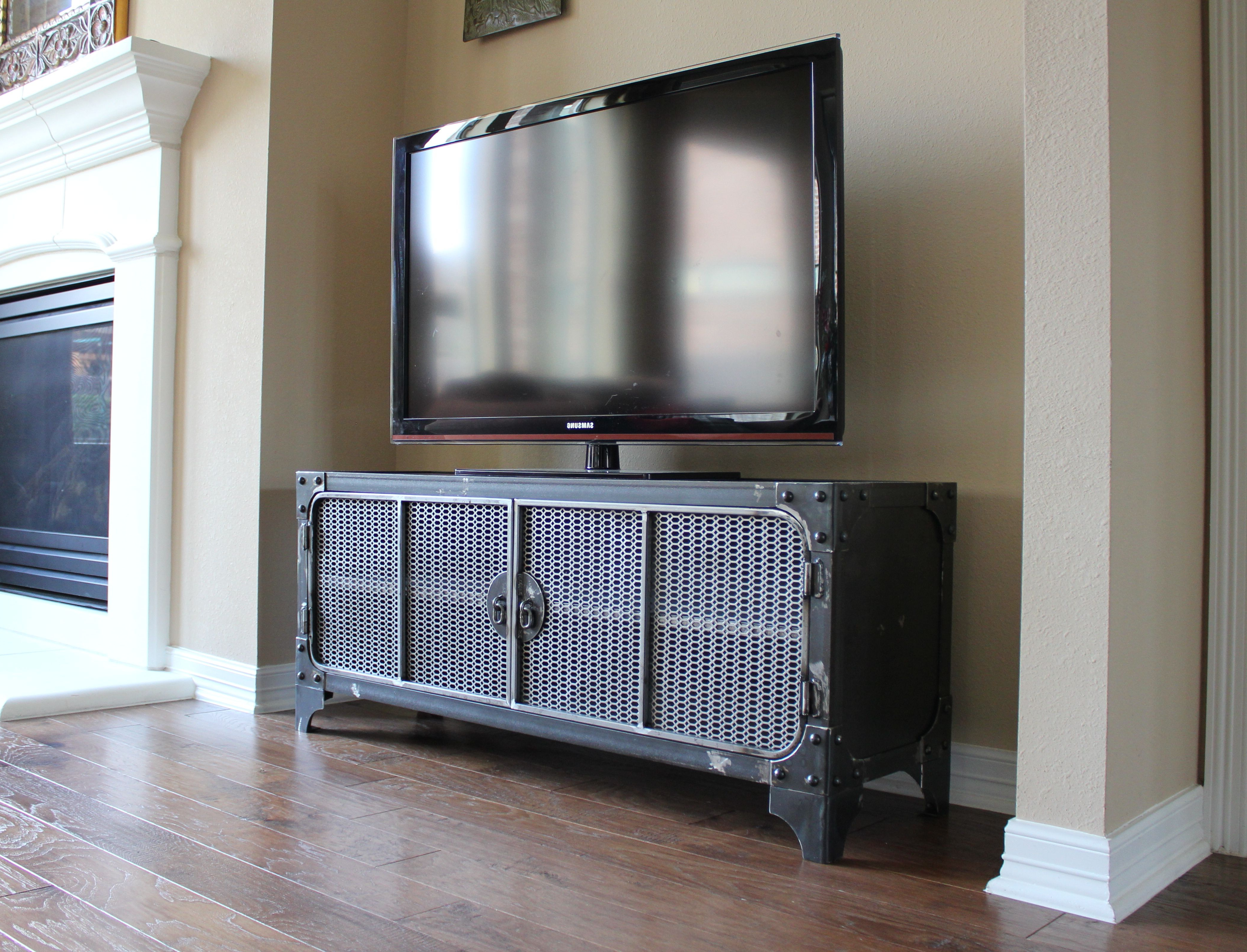 Industrial Style Tv Stands With Most Popular All Steel Industrial Style Media Console / Tv Stand / Cabinet (View 15 of 20)