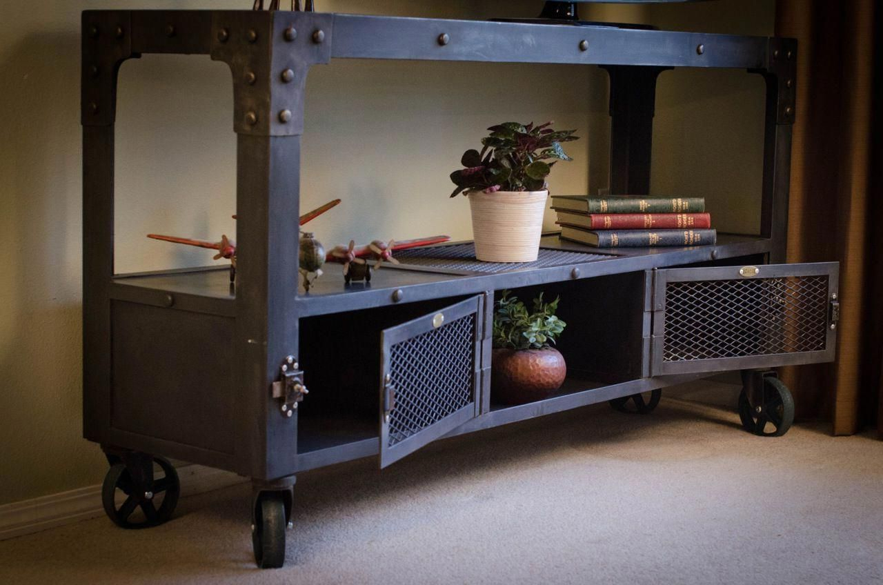 Industrial Television Stand Made From Darkened Steel, On Top Of With Fashionable Cast Iron Tv Stands (View 12 of 20)