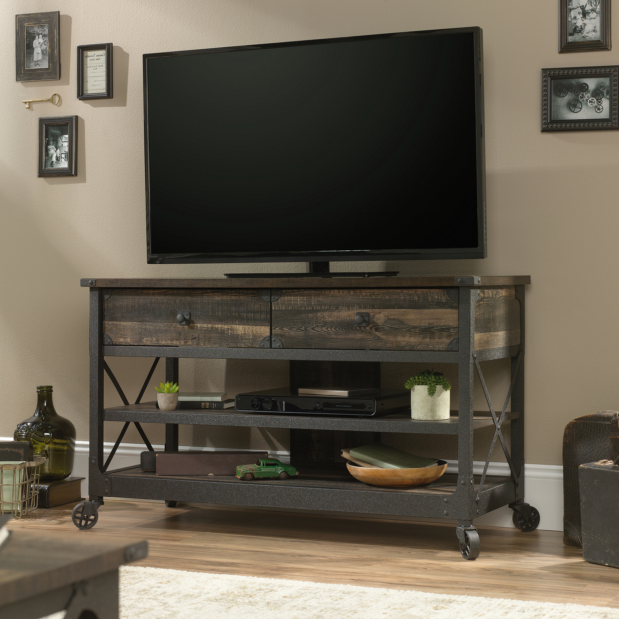 Industrial Tv Stands For Best And Newest Steel River Industrial Tv Stand Carbon Oak (423913) – Sauder (Gallery 18 of 20)