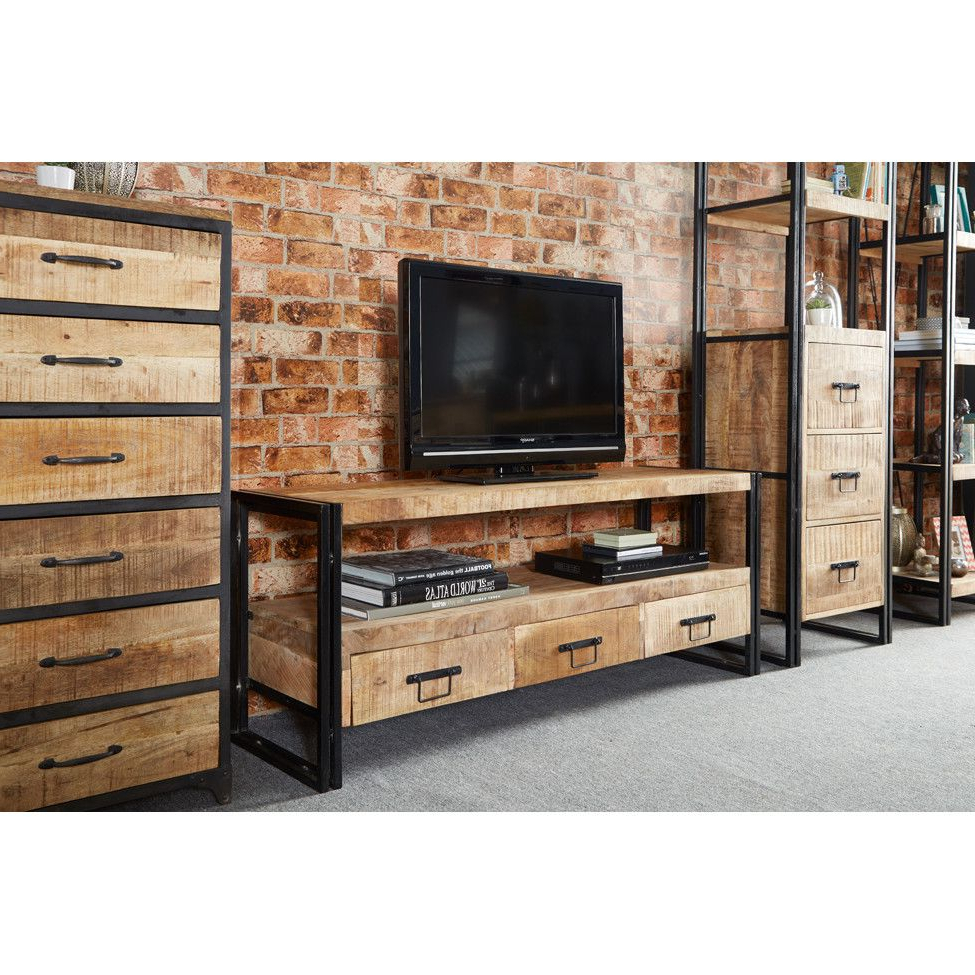 Industrial Tv Stands Within Most Up To Date Prestington Sidney Industrial Tv Stand … (View 3 of 20)