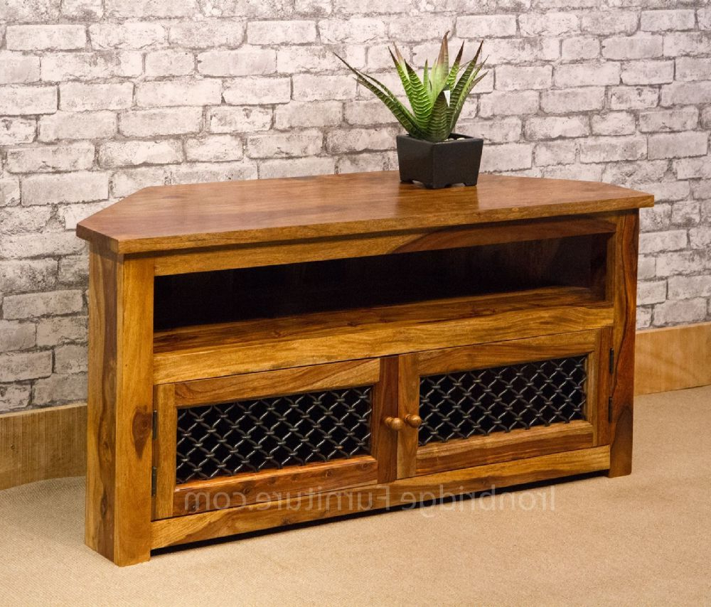 Jali Tv Cabinets Pertaining To Best And Newest Ironbridge Style Solid Indian Rosewood Sheesham 120Cm Corner Tv (Gallery 20 of 20)