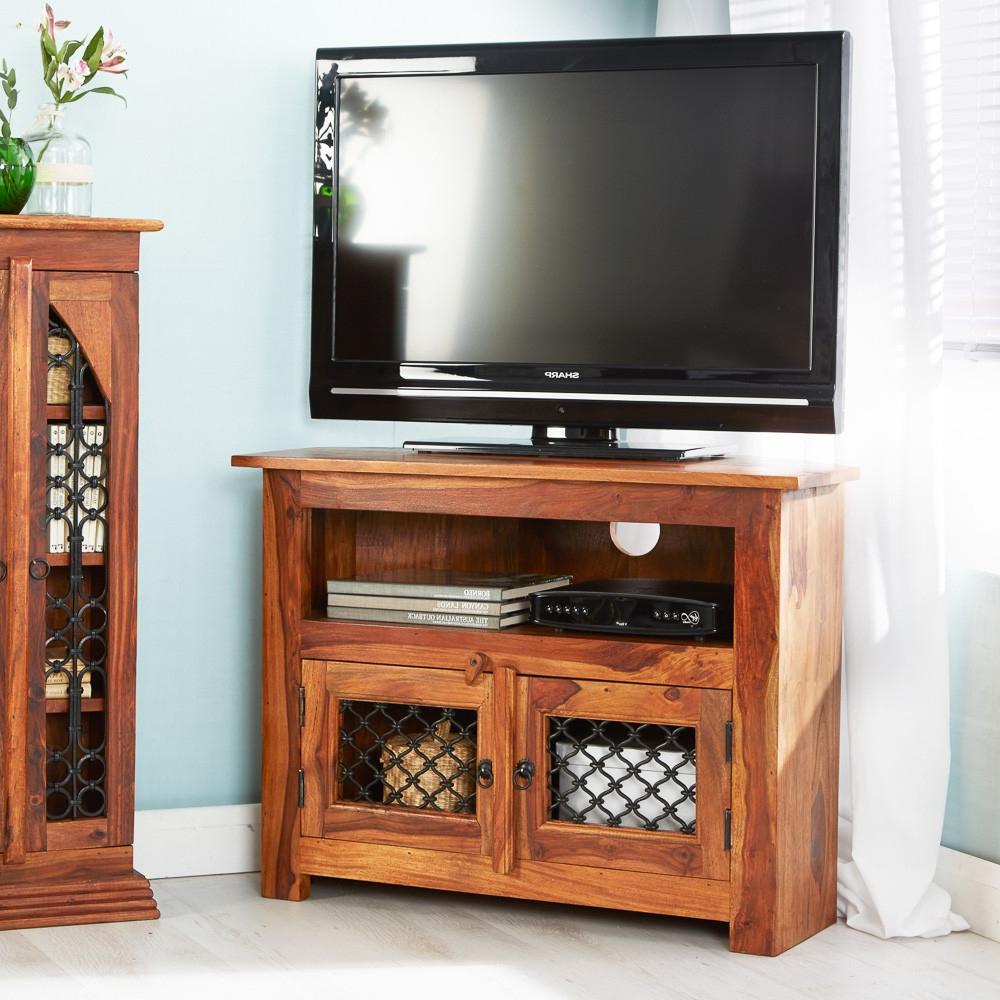 Jali Tv Cabinets Throughout Popular Jali Sheesham Corner Tv Unit (Gallery 4 of 20)