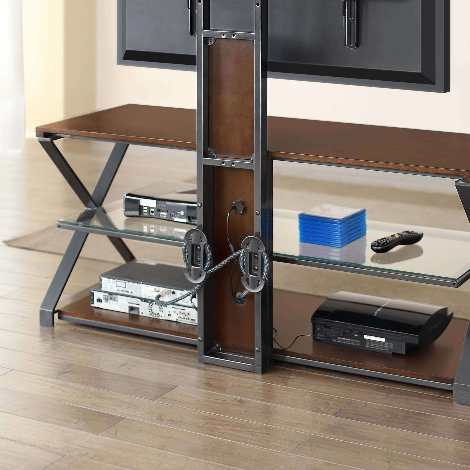 "Jaxon 3 In 1 Cognac Tv Stand For Tvs Up To 70"" – Walmart Regarding Most Current Jaxon 76 Inch Plasma Console Tables (View 9 of 20)"