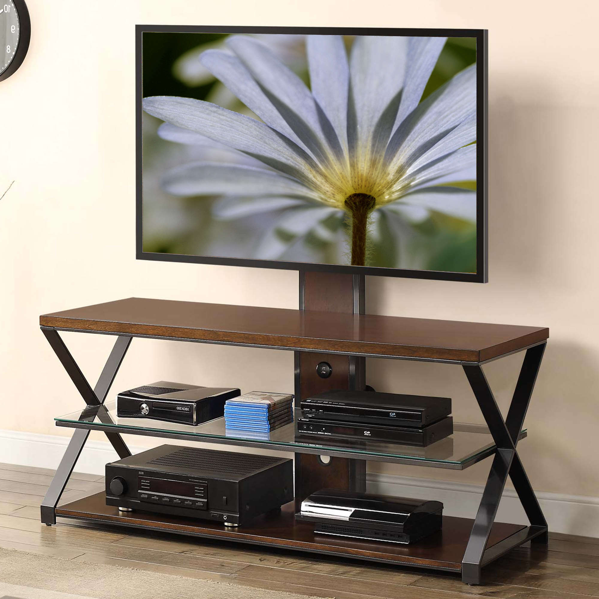 "Jaxon 65 Inch Tv Stands Within Current Jaxon 3 In 1 Cognac Tv Stand For Tvs Up To 70"" – Walmart (Gallery 3 of 20)"