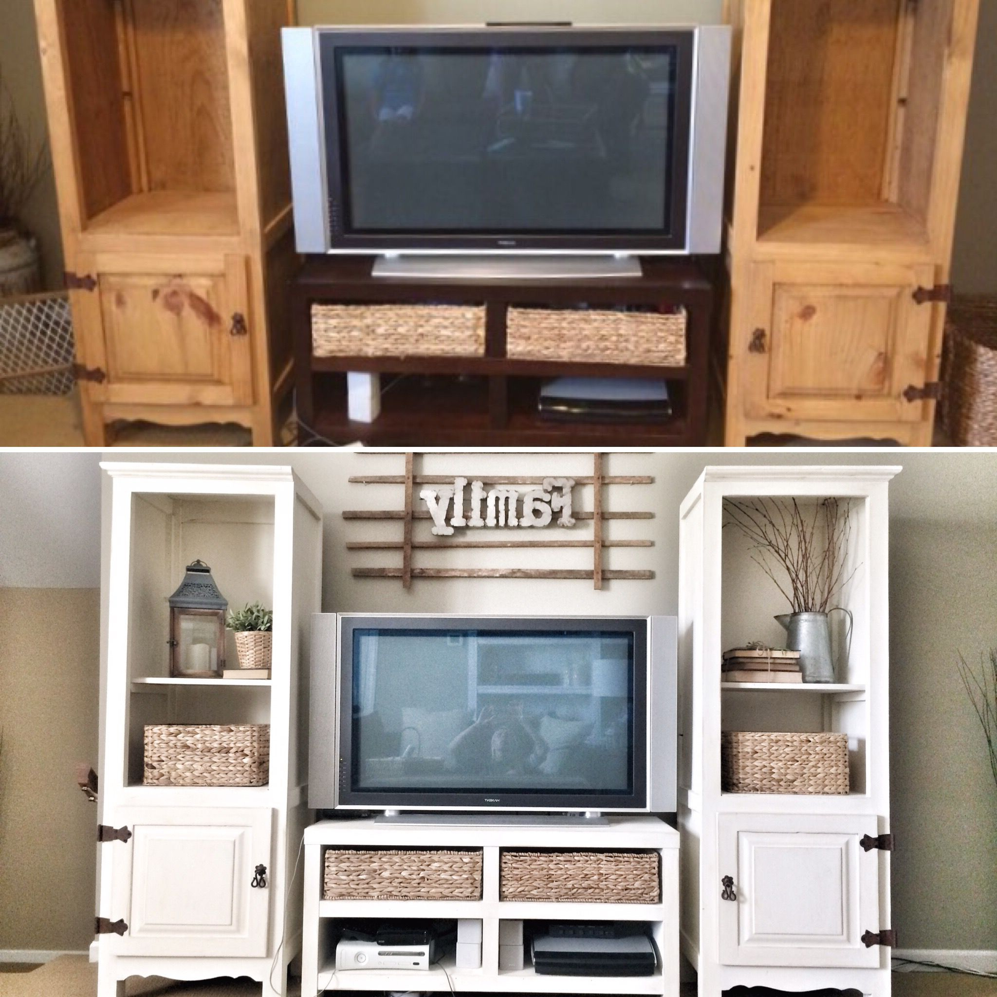 Jaxon 76 Inch Plasma Console Tables Within Most Recently Released Entertainment Center Makeover. Before And After Ig @bless_This_Nest (Gallery 13 of 20)