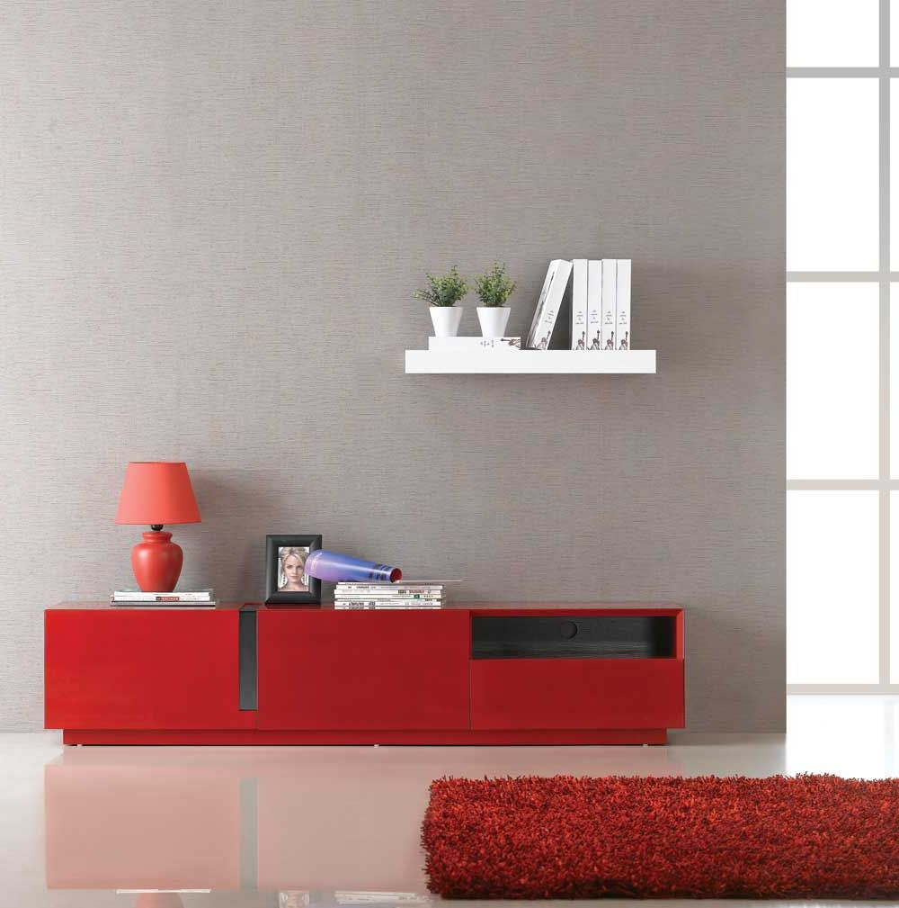 J&m Furniture Tv027 Red High Gloss Tv Stand (Gallery 3 of 20)