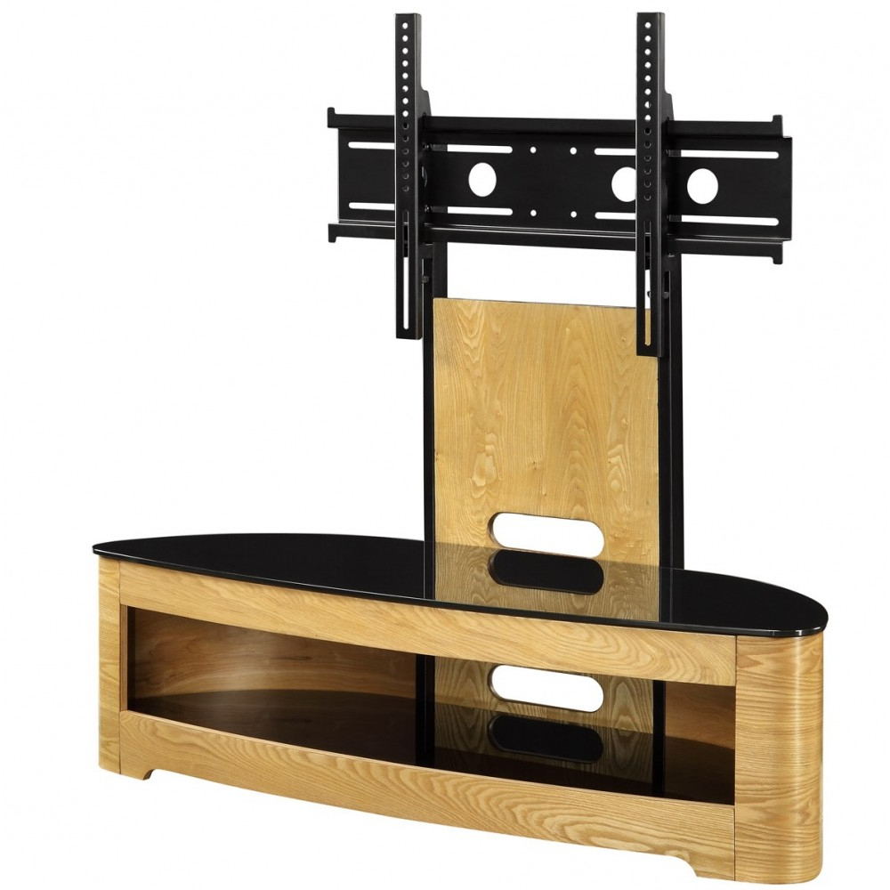 Jual Jf209 Ob Lcd Tv Stands Oak Black Glass 2 Shelf Tvs 40 Up To 55 Throughout Trendy Oak Veneer Tv Stands (View 11 of 20)