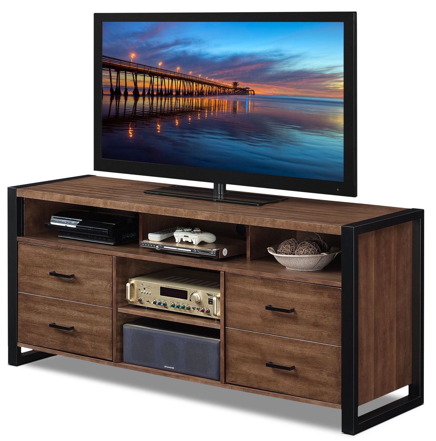 Kai 63 Inch Tv Stands In Well Liked Big Tv Stand Wood Contemporary Meets Industrial In This Deblin (View 20 of 20)