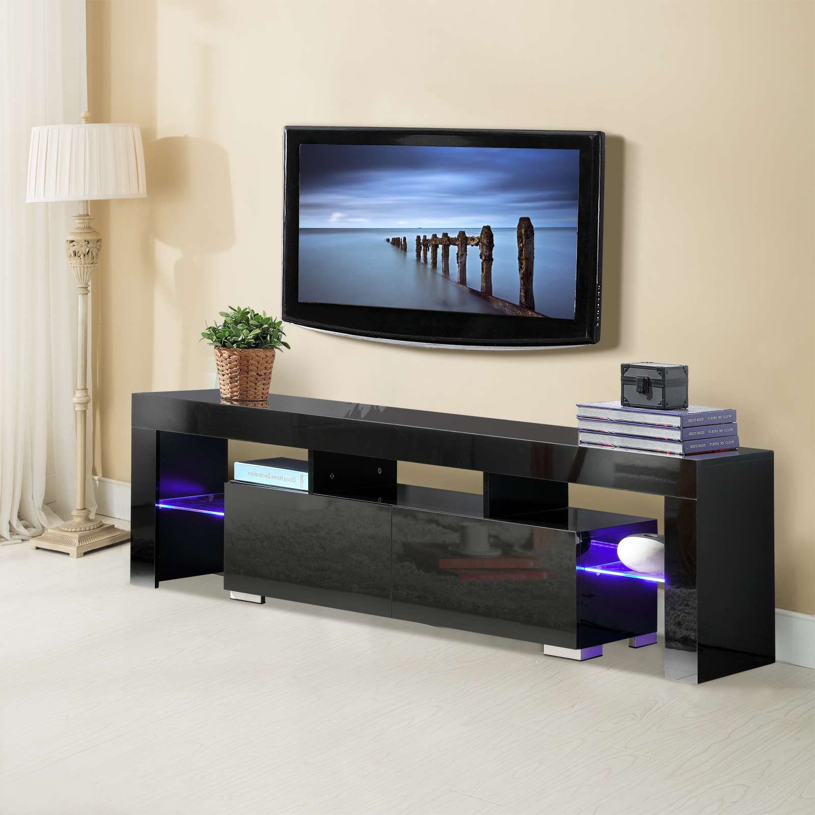 Kai 63 Inch Tv Stands Regarding Most Recent Mecor Tv Stand With Led Lights, 63 Inch High Gloss Tv Shelves (Gallery 8 of 20)