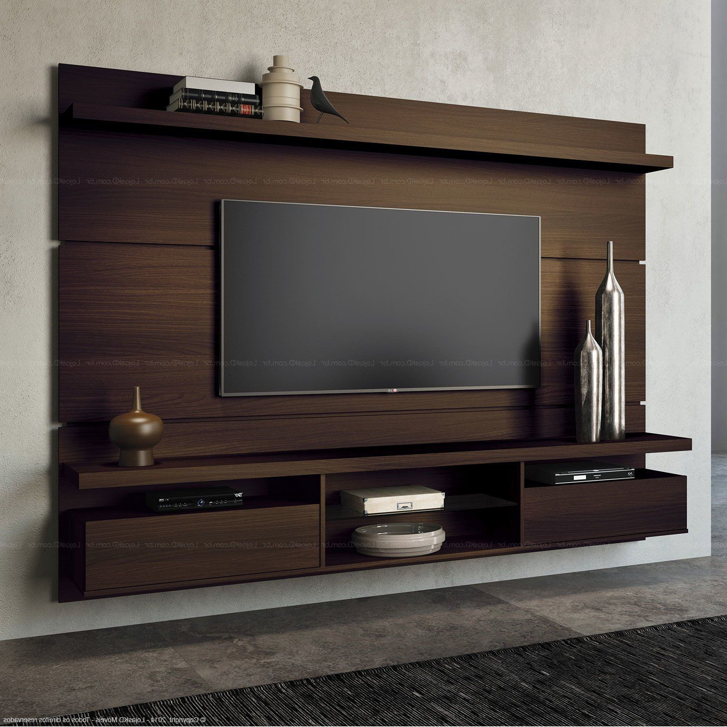 Kilian Black 60 Inch Tv Stands Intended For Most Current Home Suspenso Para Tv Até 60 Polegadas Livin 165 X 220 X (View 3 of 20)