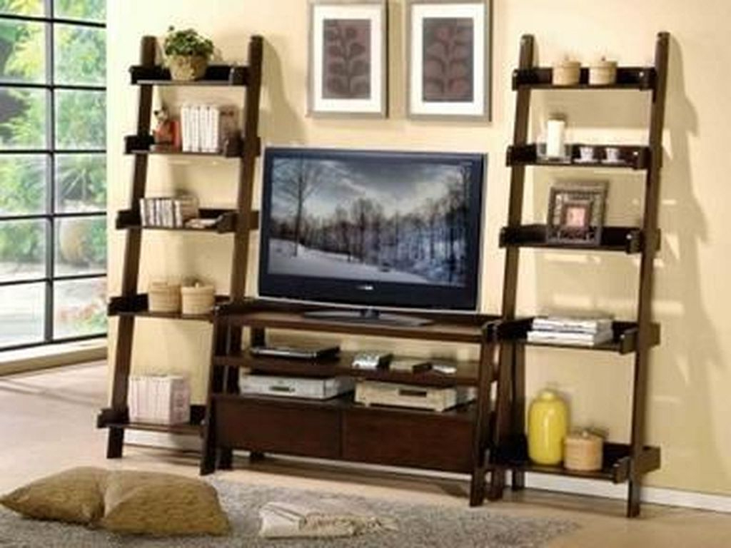 Kilian Black 74 Inch Tv Stands With Regard To Famous 20+ Charming Ladder Shelf Ideas To Decorate Your Home (View 7 of 20)