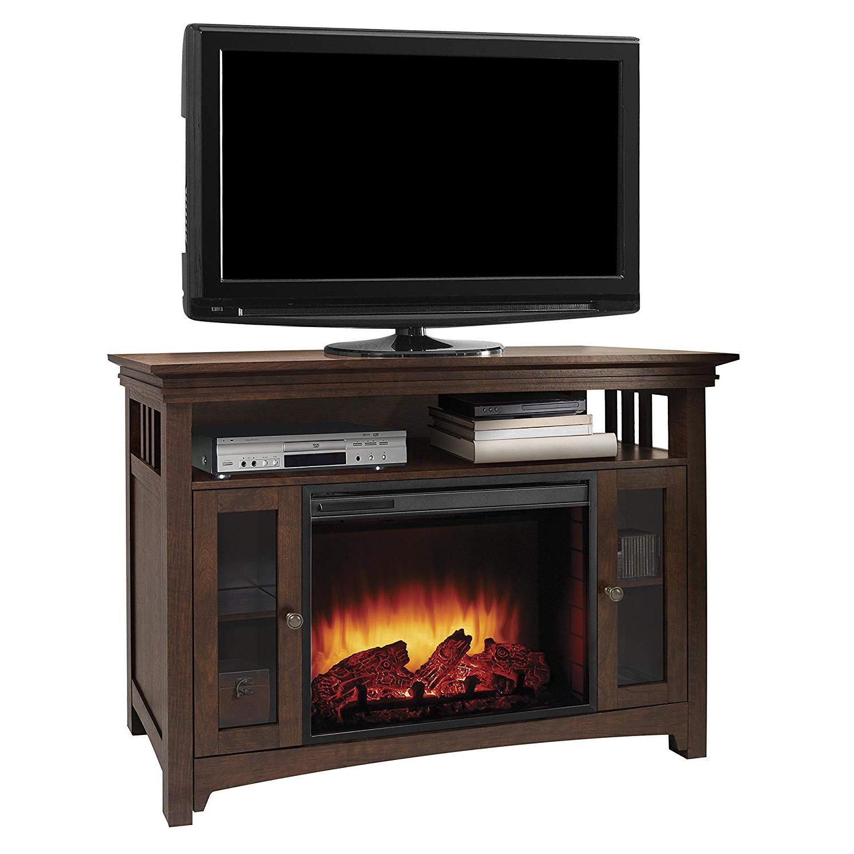 "Kilian Grey 49 Inch Tv Stands Throughout 2017 Amazon: Muskoka Wyatt 48"" Media Fireplace Burnished Oak: Home (View 4 of 20)"