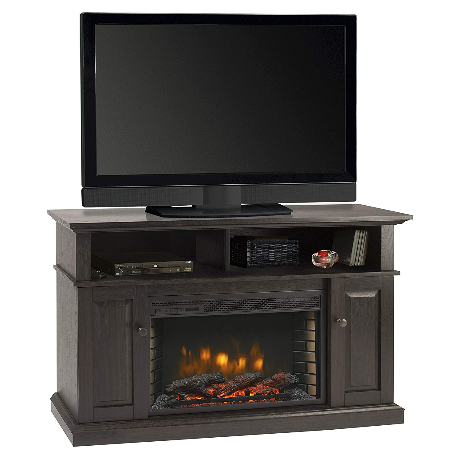 "Kilian Grey 49 Inch Tv Stands Within Popular Amazon: Muskoka Delaney 48"" Media Fireplace Rustic Brown: Home (Gallery 13 of 20)"