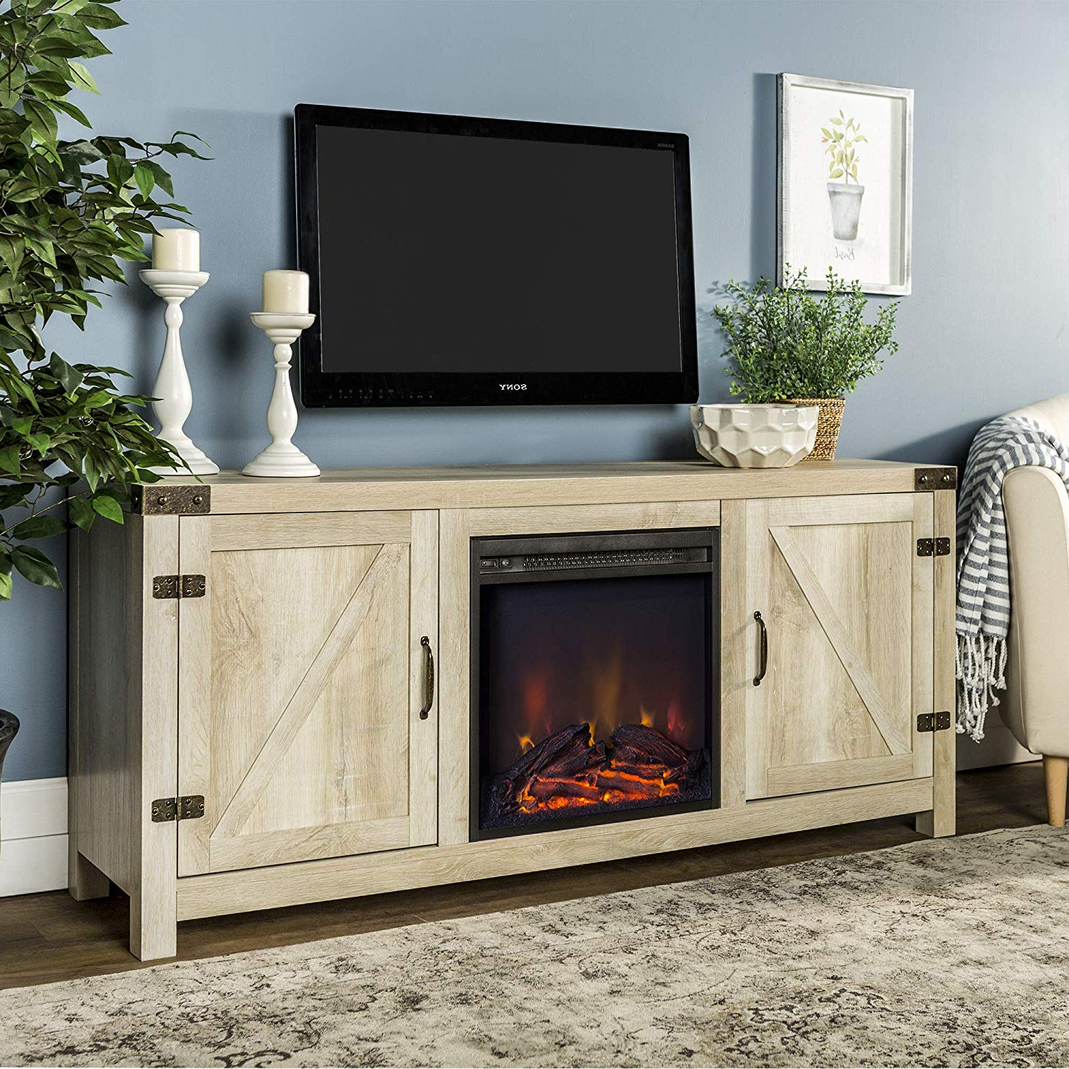 Kilian Grey 60 Inch Tv Stands Intended For Well Known Amazon: We Furniture Az58Fpbdwo Fireplace Stand, White Oak (View 11 of 20)