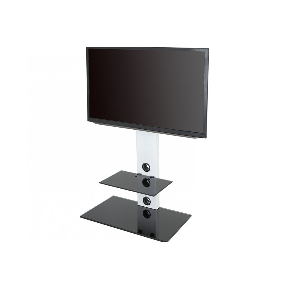 King Cantilever Tv Stand With Brackets, White, Rectangle Base, Tvs For Well Known Cheap Cantilever Tv Stands (View 13 of 20)