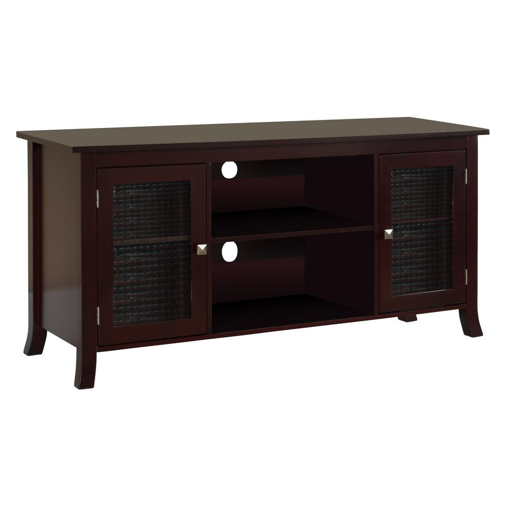 Kings Brand Furniture Dark Cherry Tv Stand With Glass Doors 48 In For Preferred Wood Tv Stand With Glass (View 12 of 20)