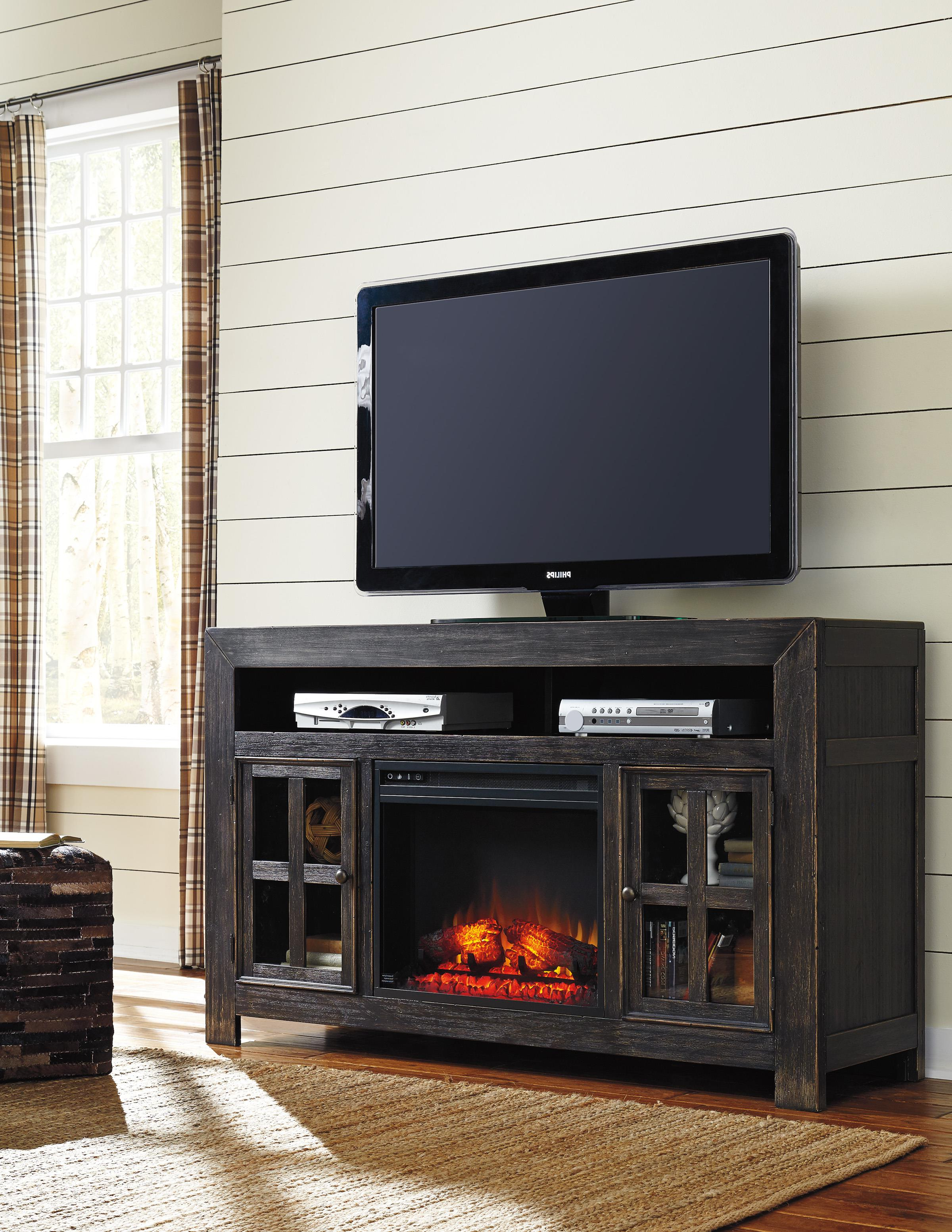Large Black Tv Unit In Newest Distressed Black Large Tv Stand With Electric Fireplace Unit (View 12 of 20)
