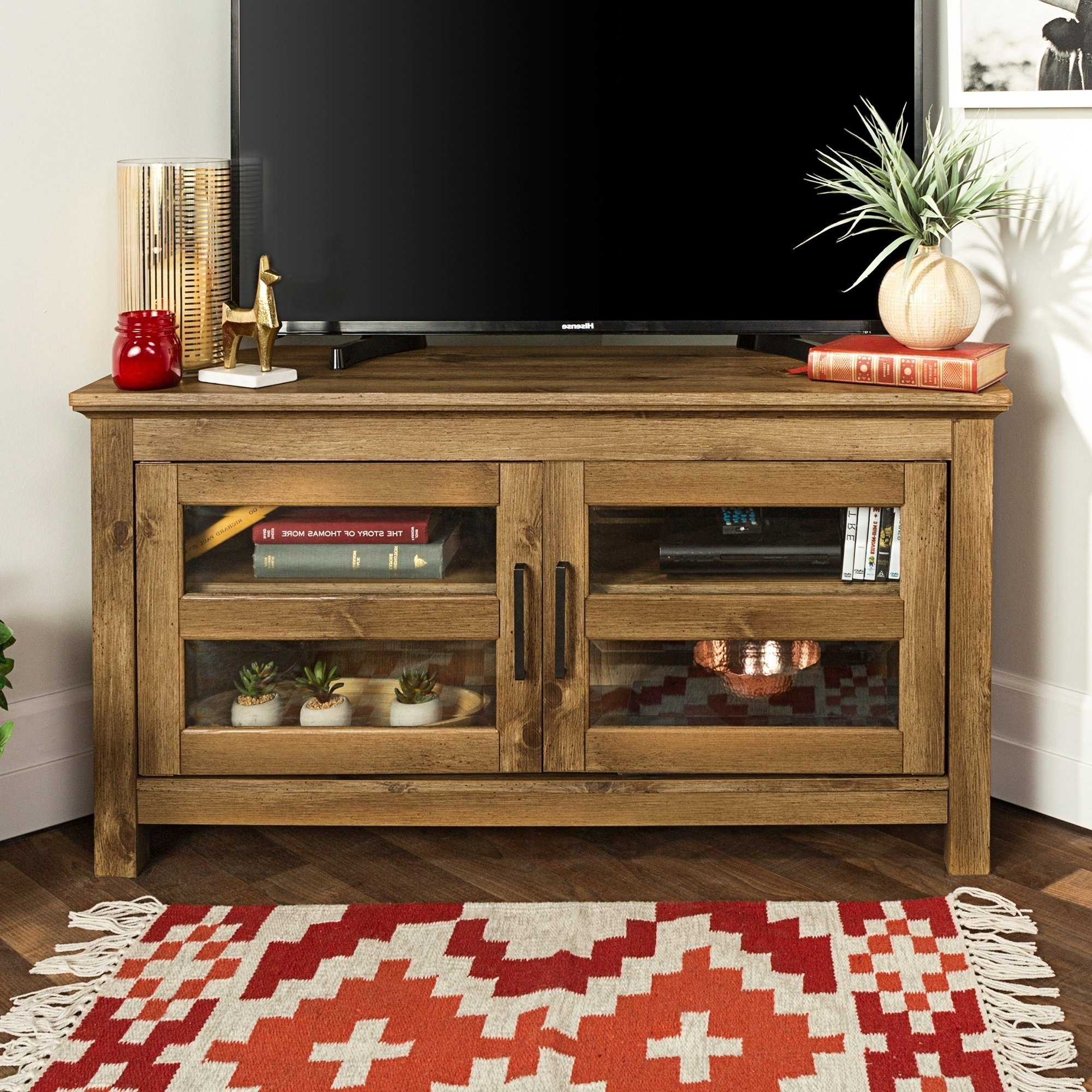 "Large Corner Tv Stands Inside Well Liked Shop 44"" Corner Tv Stand Console – Barnwood – 44 X 16 X 23H – Free (Gallery 20 of 20)"