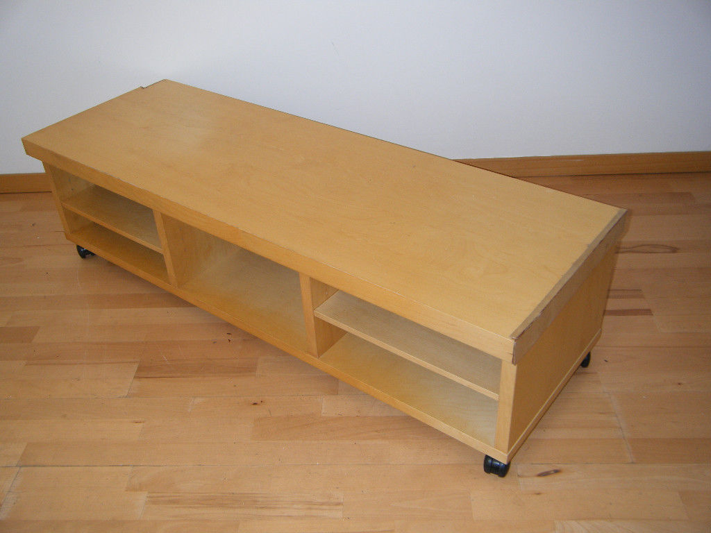 Large Ikea Oppli Birch Tv Stand W/shelf~Table Wooden Wood Pine Unit Inside Latest Birch Tv Stands (Gallery 19 of 20)