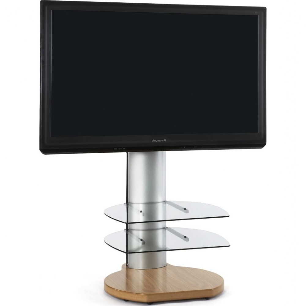Large Round Dark Wood Oak Tv Stand Clear Glass Shelves Regarding Well Known Large Oak Tv Stands (View 11 of 20)